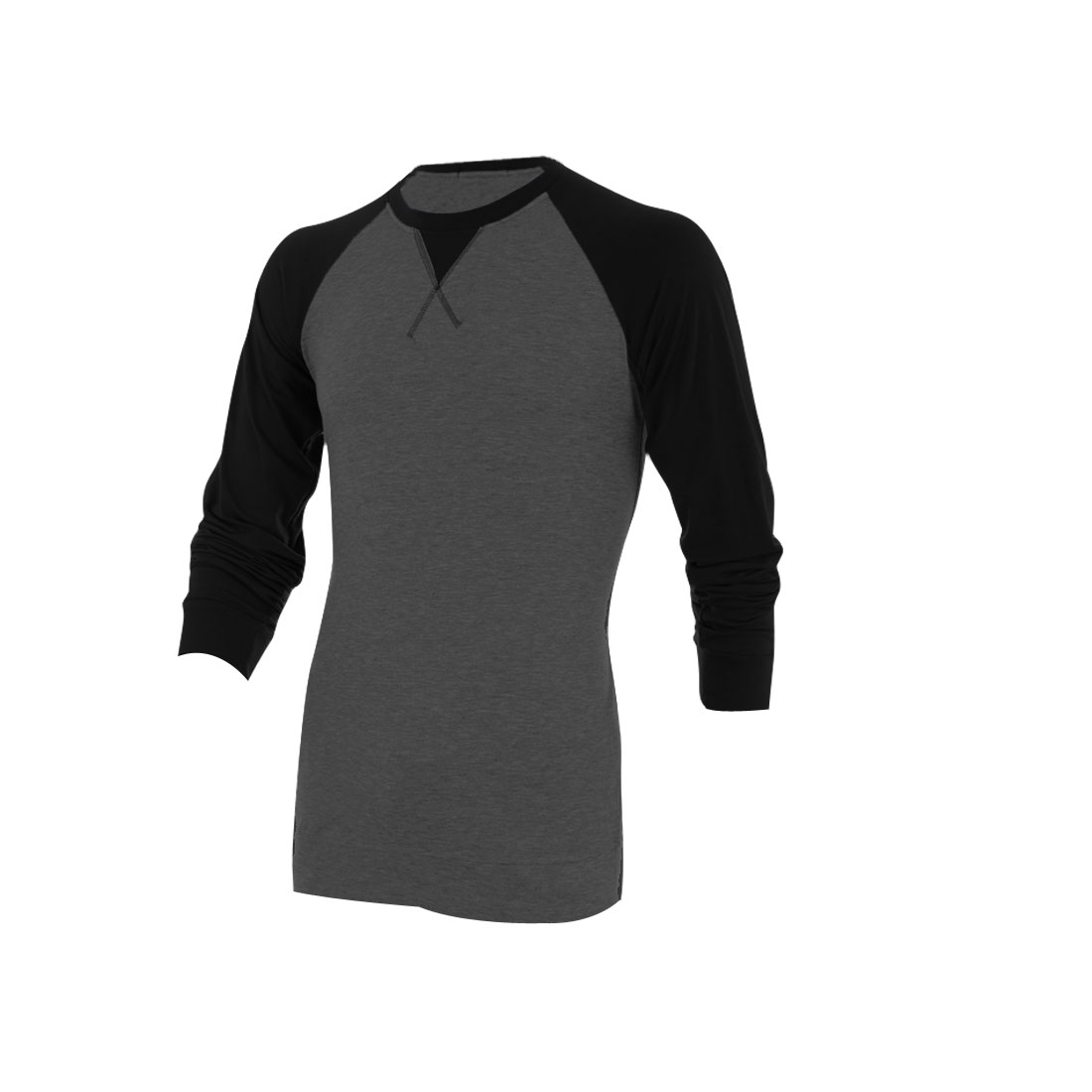 Mens Round Neck Long Raglan Sleeve Design Splice Dark Gray Tee Shirt M