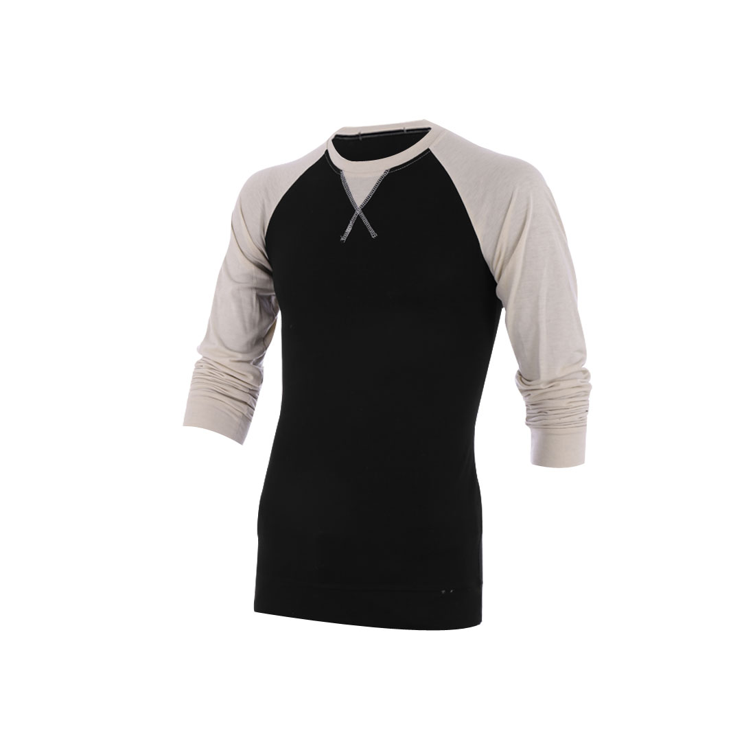 Stylish Mens Round Neck Long Raglan Sleeve Black Biege Spring Shirt M