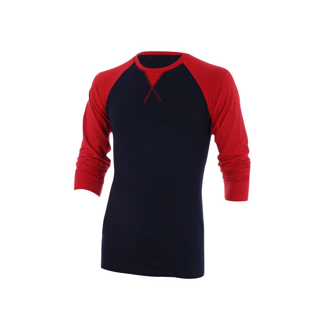 Man Chic Dark Blue Red Long Raglan Sleeve Spring Tee Shirt M