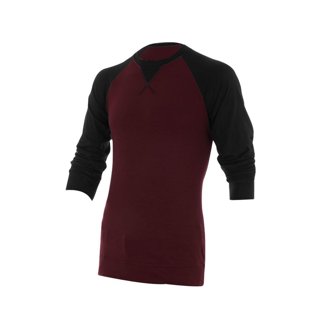 Slipover Stretchy Slim Fit Black Long Raglan Sleeve Burgundy Shirt for Man M