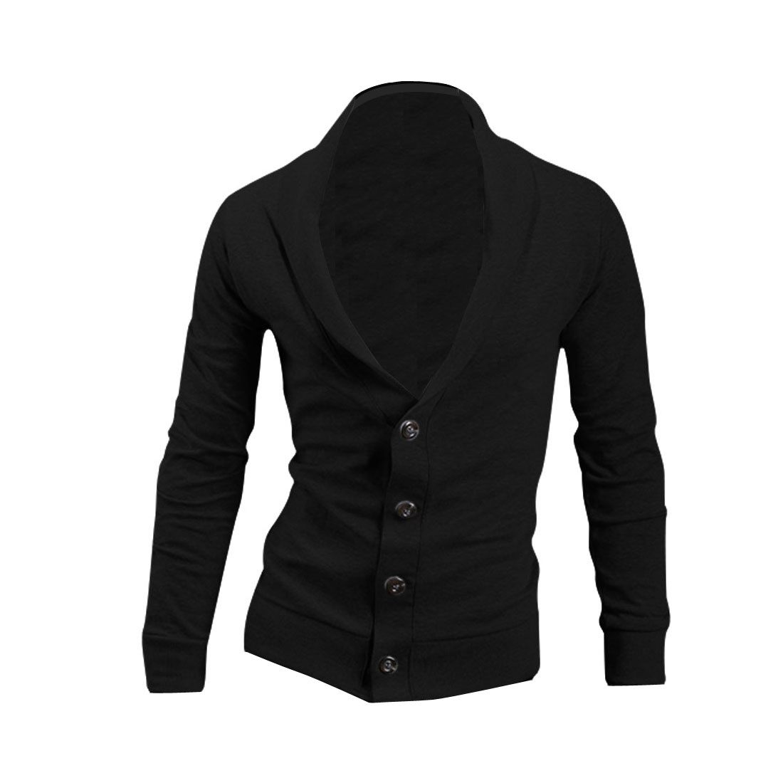 Men Convertible Collar Single Breasted Cardigan Black L