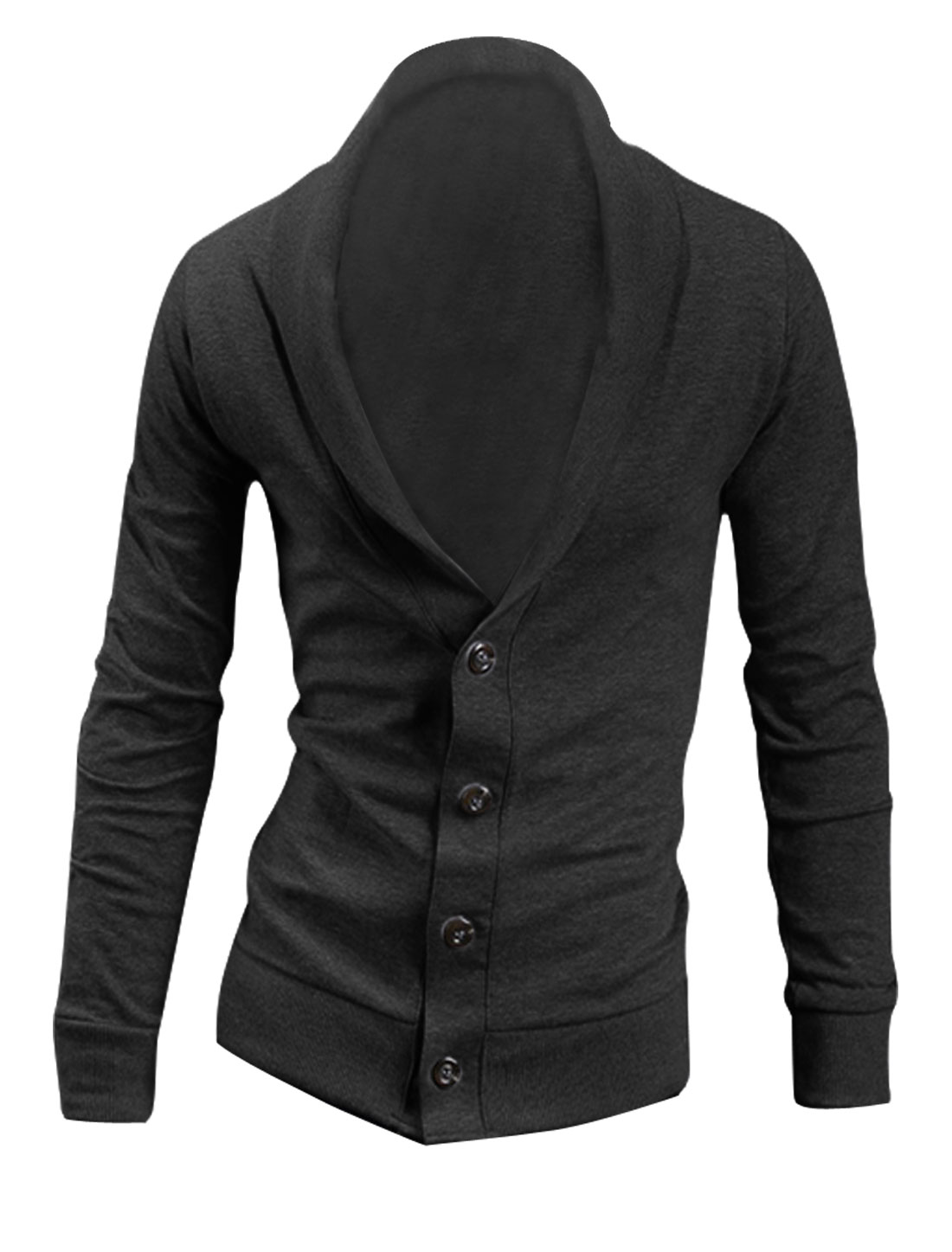 Men Single Breasted Long Sleeve Cardigan Dark Gray L