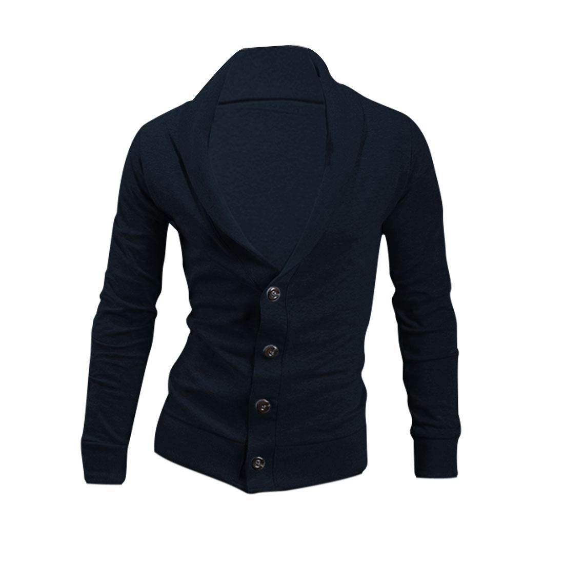 Men Button Closure Stretchy Autumn Cardigan Navy Blue L