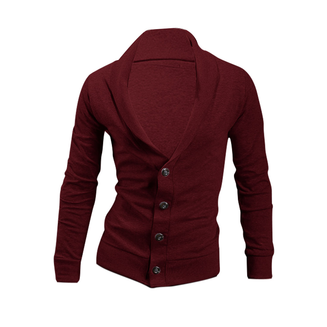 Men Button Down Long Sleeve Ribbing Cardigan Burgundy L