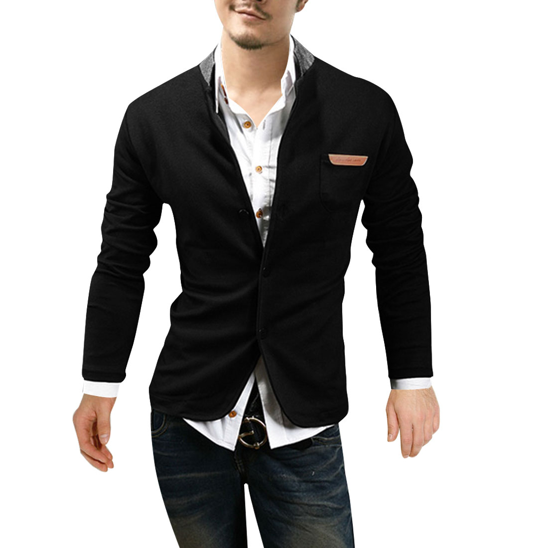 Men Stand Collar Single Breasted Chest Classic Coat Black M
