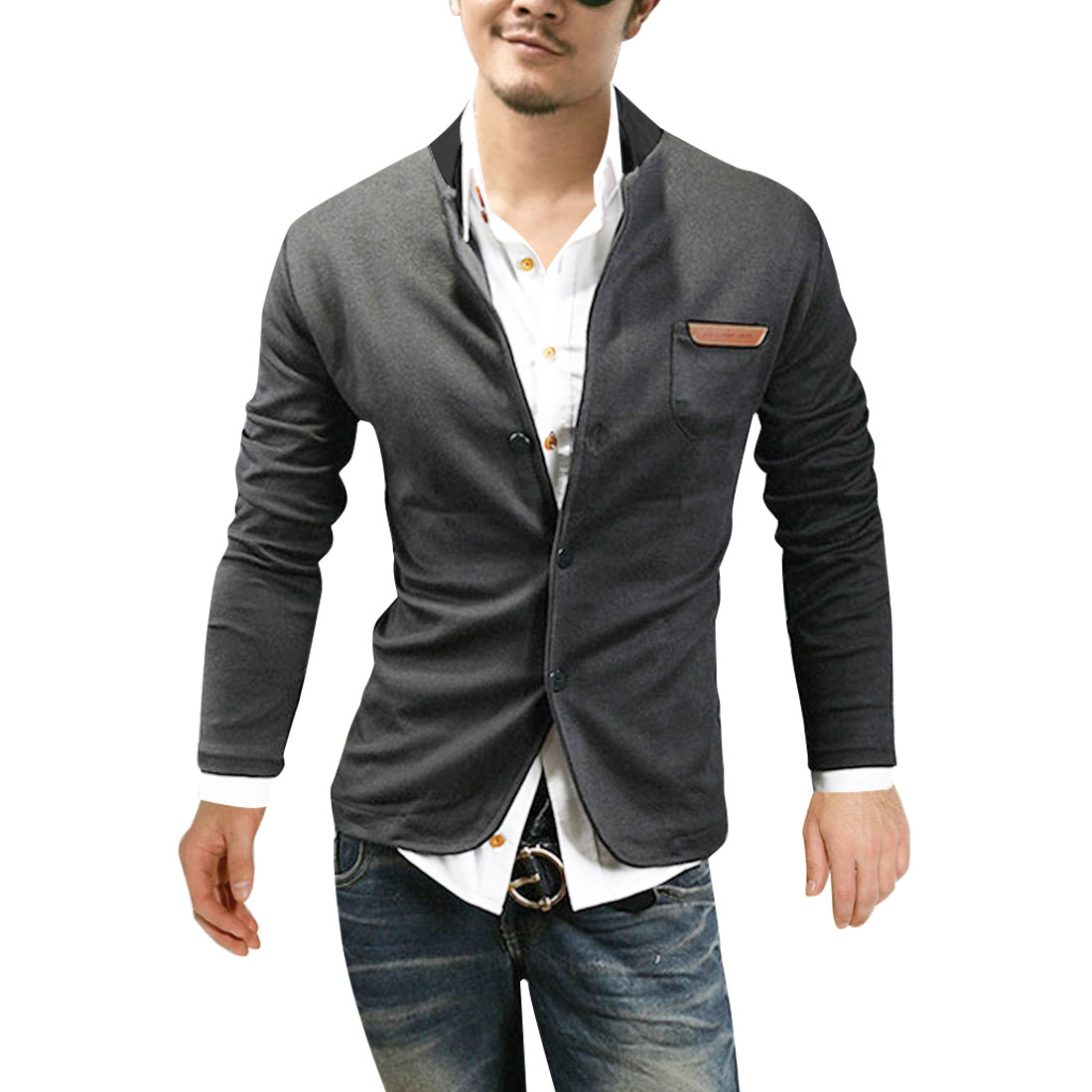 NEWS Men Stand Collar Long Sleeve Classic Coat Gray M