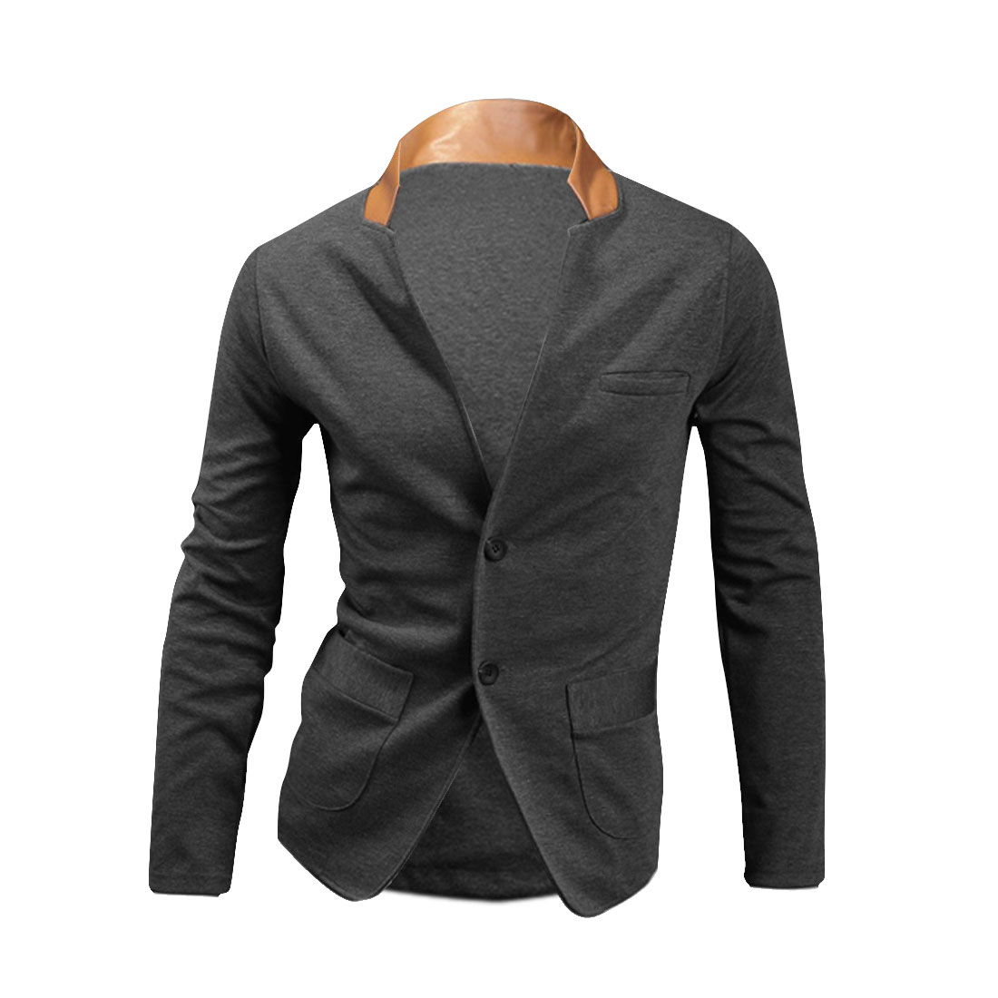 Mens NEW Contrast Color Faux Leather Stand Collar Dark Gray Spring Shirt M