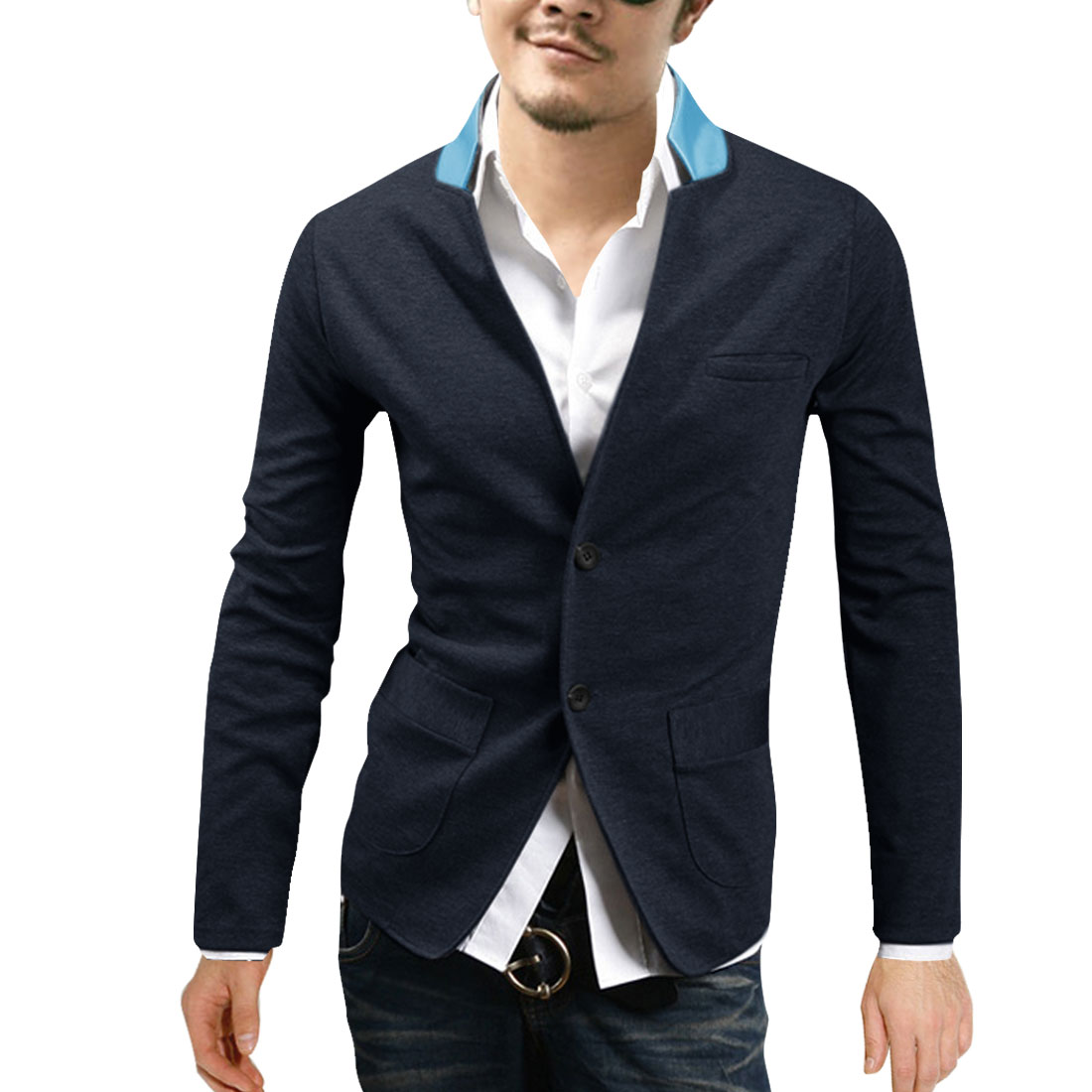 Stylish Dark Blue Single-Breasted Front Colorblock Spring Shirt for Man M