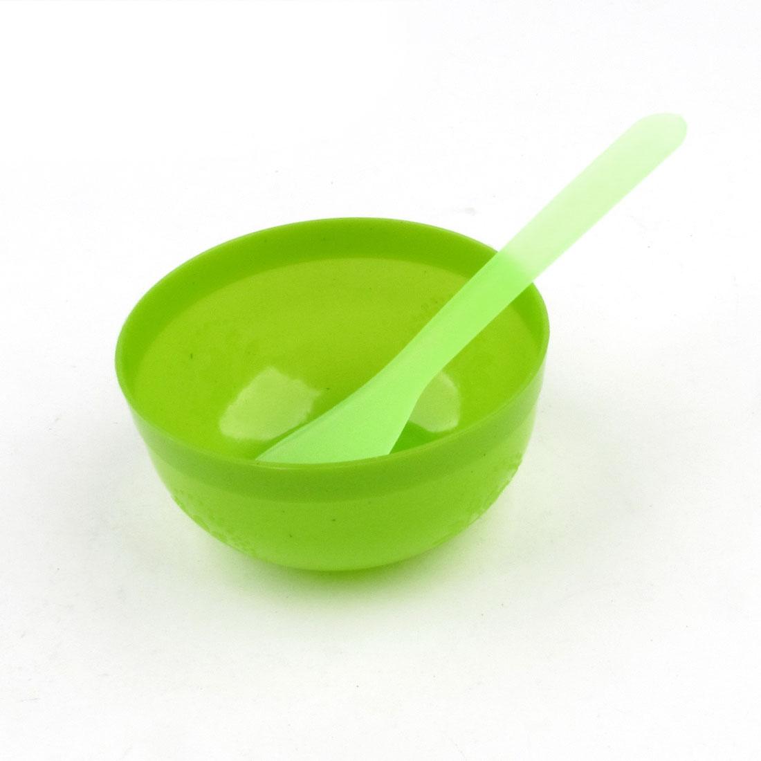 Green Plastic Makeup Tool Facial Mask Mixing Bowl w Spatula