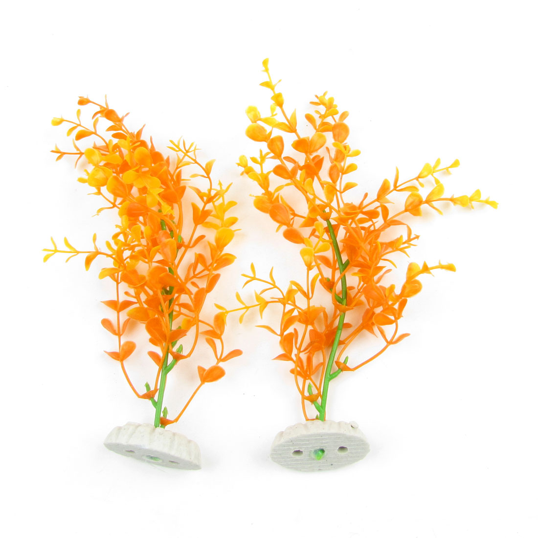 "Pair 7.9"" Height Orange Red Yellow Artificial Plant Grass Ornamnet for Fish Tank"