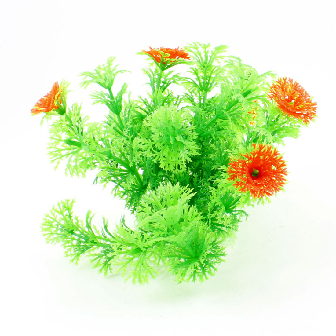 "4.3"" Height Orange Green Aquarium Plastic Underwater Plant Grass Decoration"
