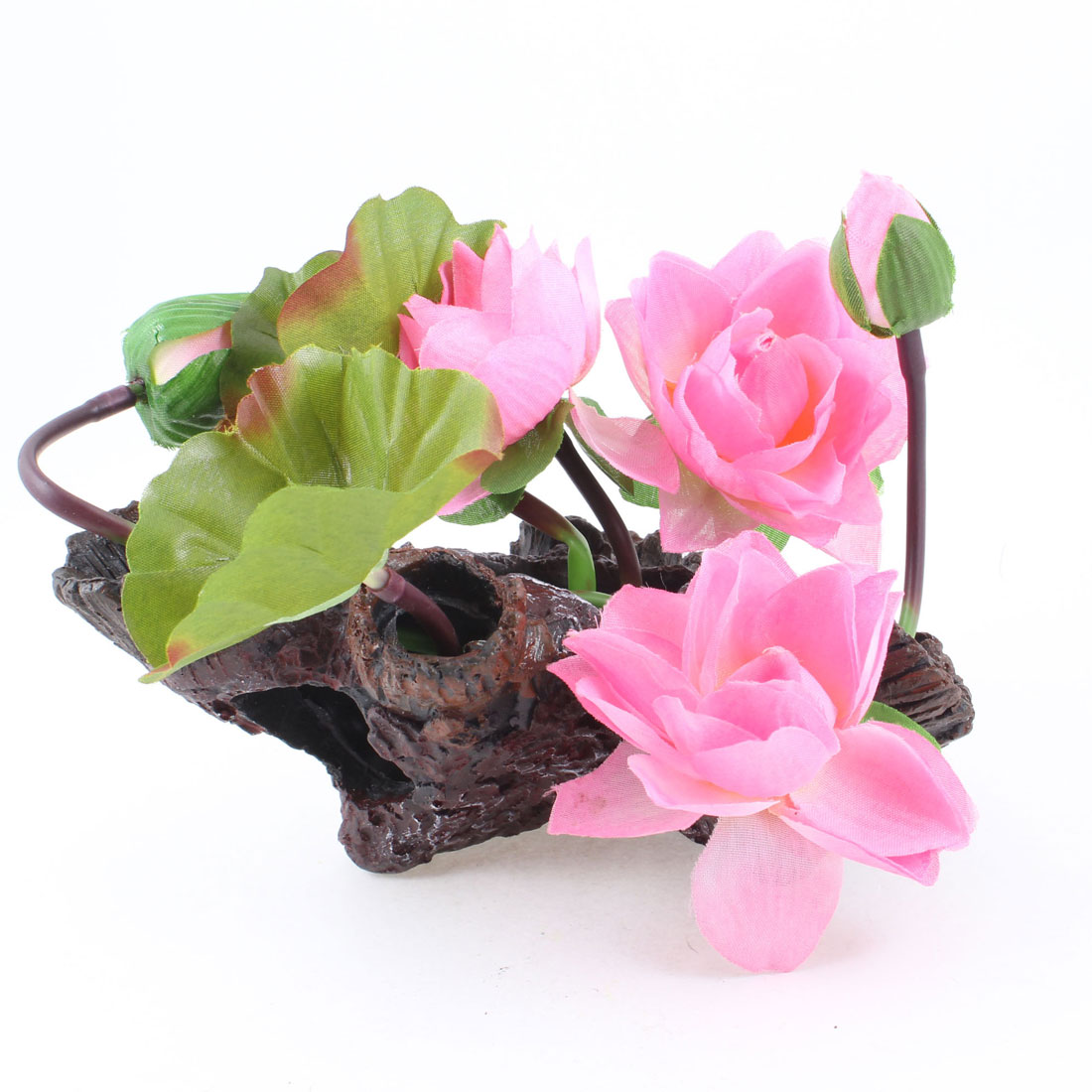 """9.1"""" Height Fish Tank Fishbowl Green Pink Artificial Lotus Plant Ornament"""