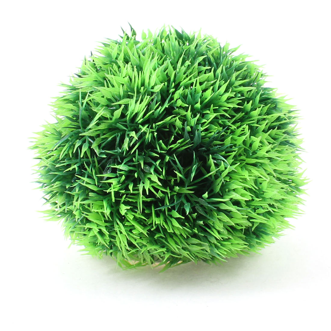 Aquarium Ball Design Manmade Water Plant Grass Decoration Green w Ceramic Base