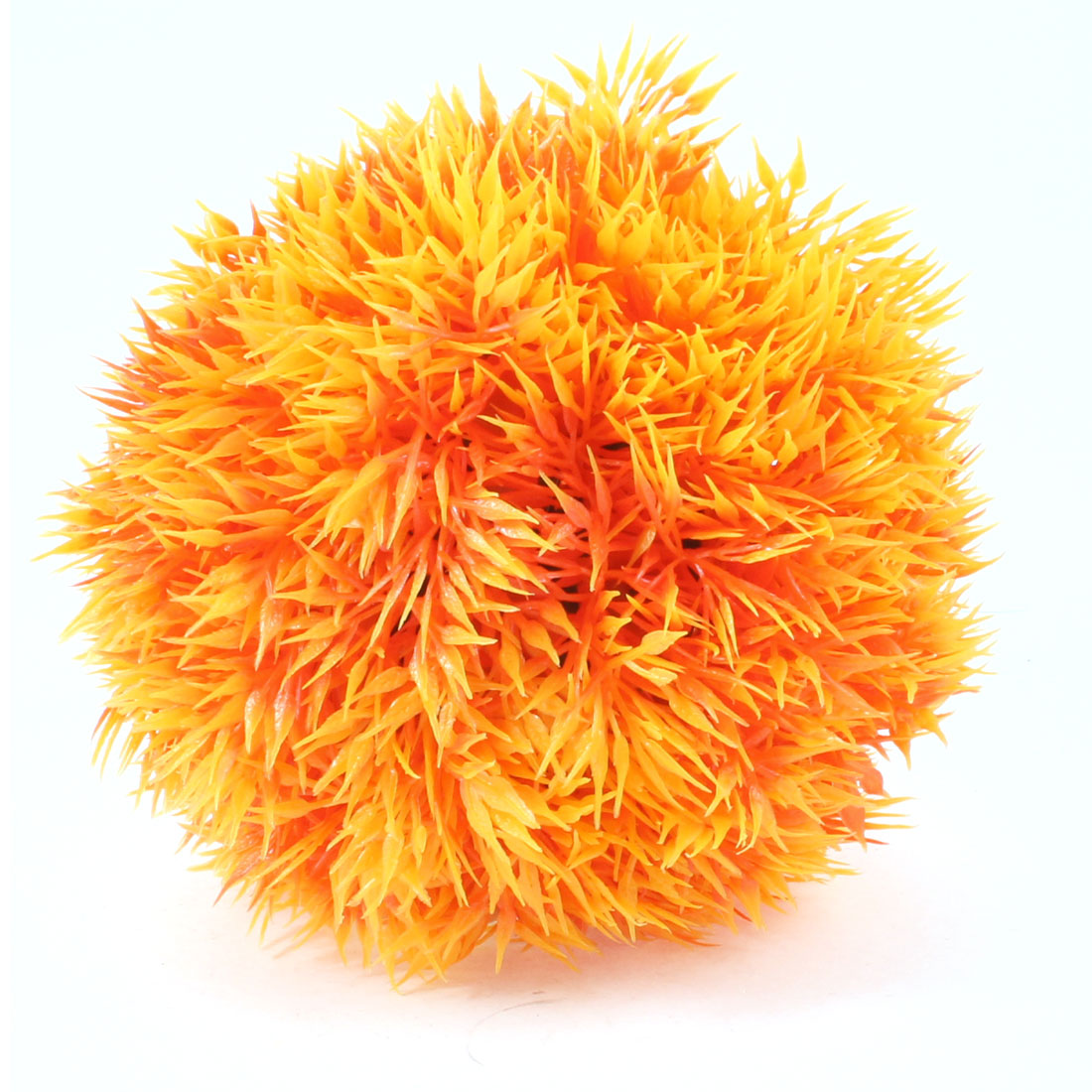 Aquarium Ball Shape Plastic Underwater Plant Ornament Dark Yellow w Oval Base