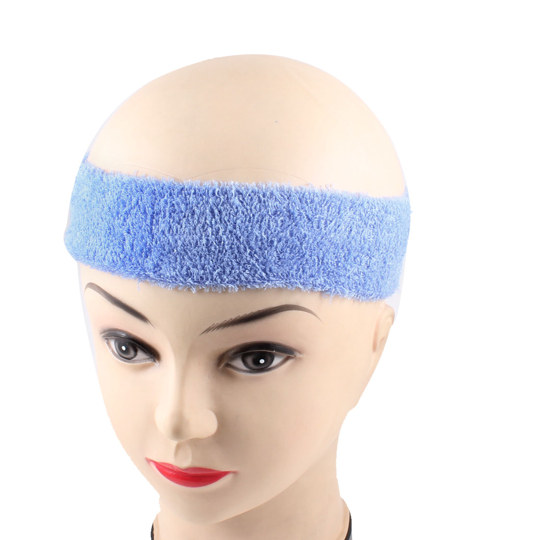 "Adult Light Blue Terrycloth 7.2"" Flat Length Sweat Absorb Headband"