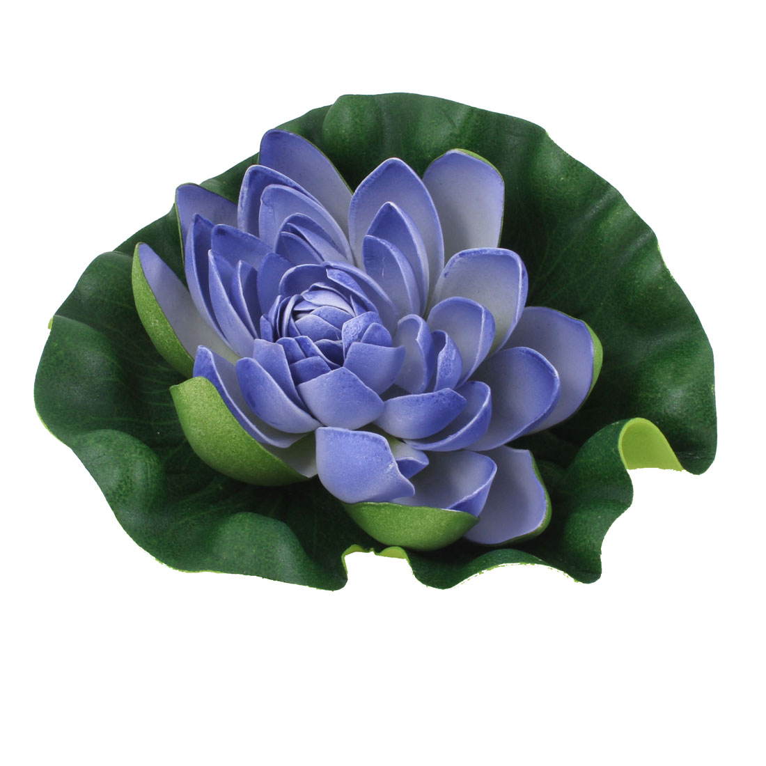 "6.7"" Dia Indigo Blue Green Floatable Lotus Foam Flower Decor for Fish Tank Pond"