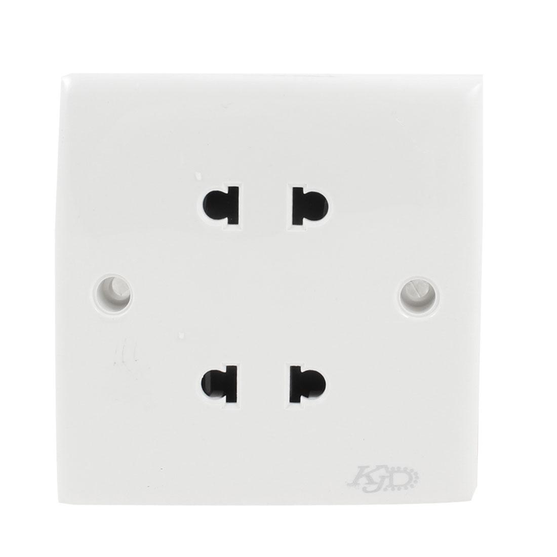 Household Plastic Shell 2 Pin US EU Socket Wall Plate White AC 250V 10A