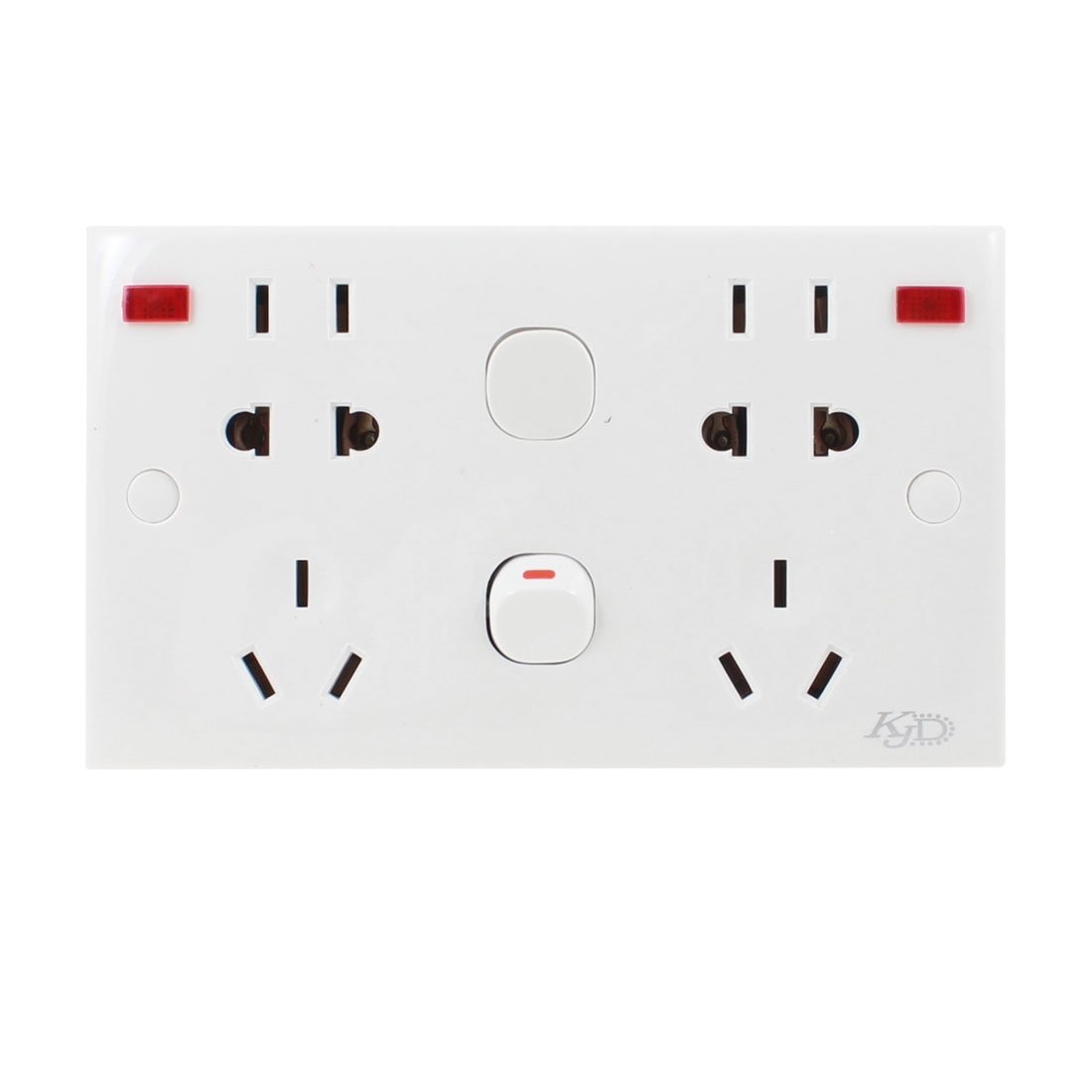 White Rectangle 3 Pin AU 2 Pin US EU Socket 1 Gang Wall Outlet Plate 250VAC 10A