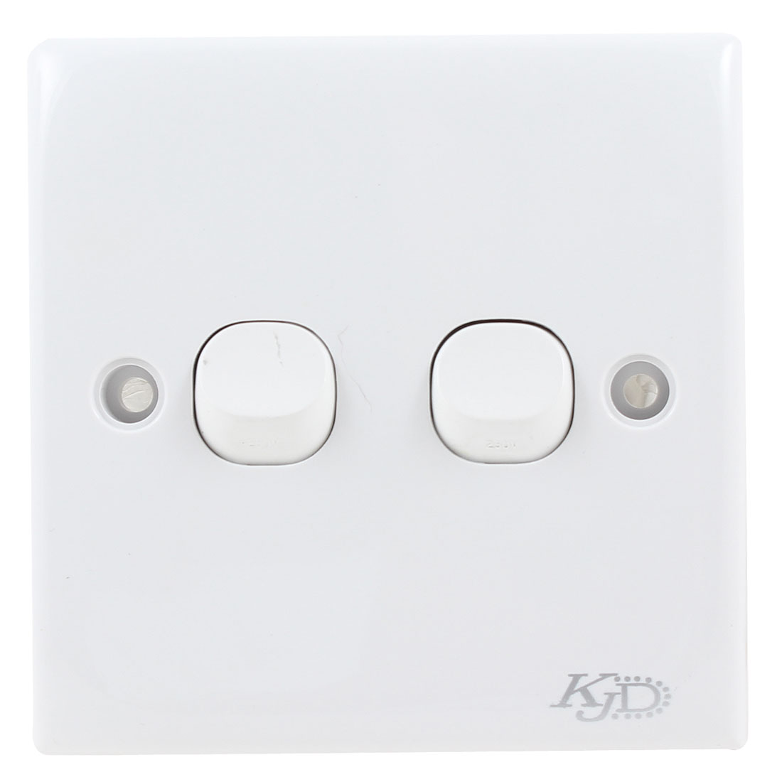 Household AC 250V 10A 2 Gang On/Off SPST Square Light Switch Wall Plate