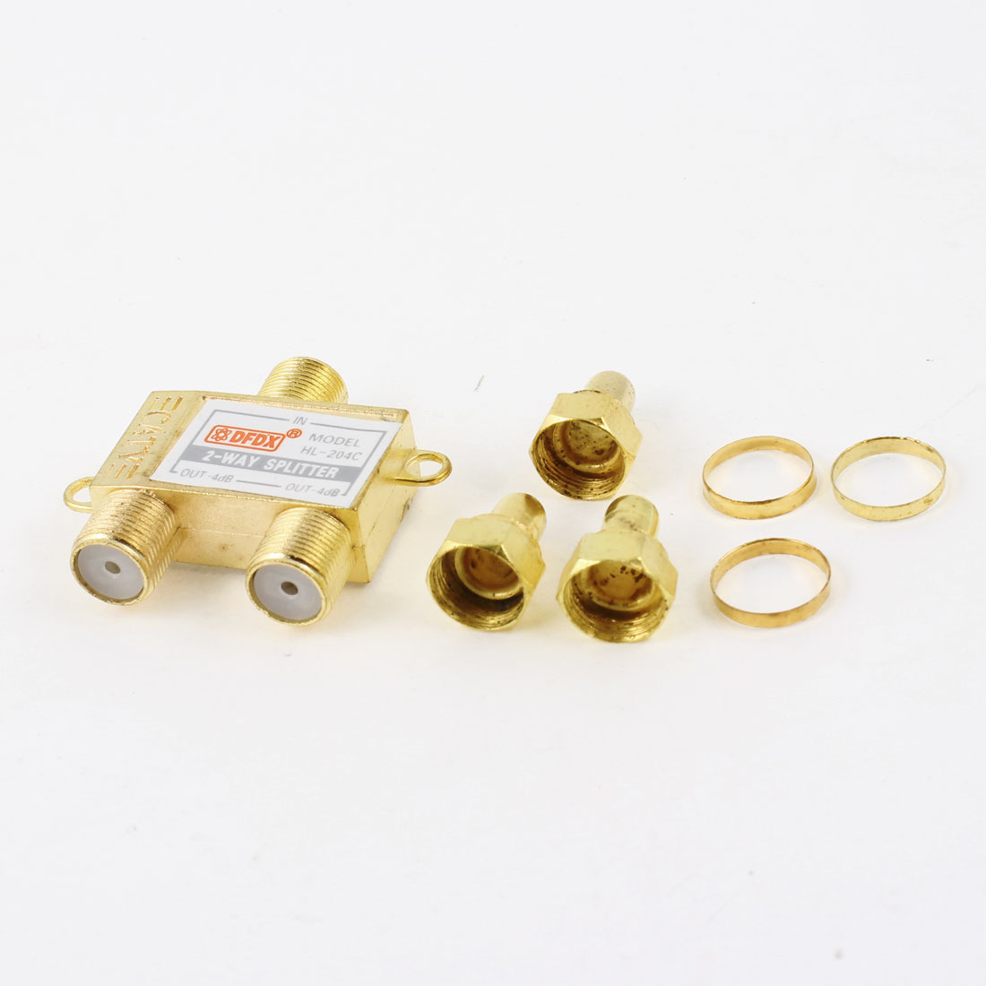 Gold Tone Signal CATV Directional Coupler 1 in 2 out 3 Way Splitter