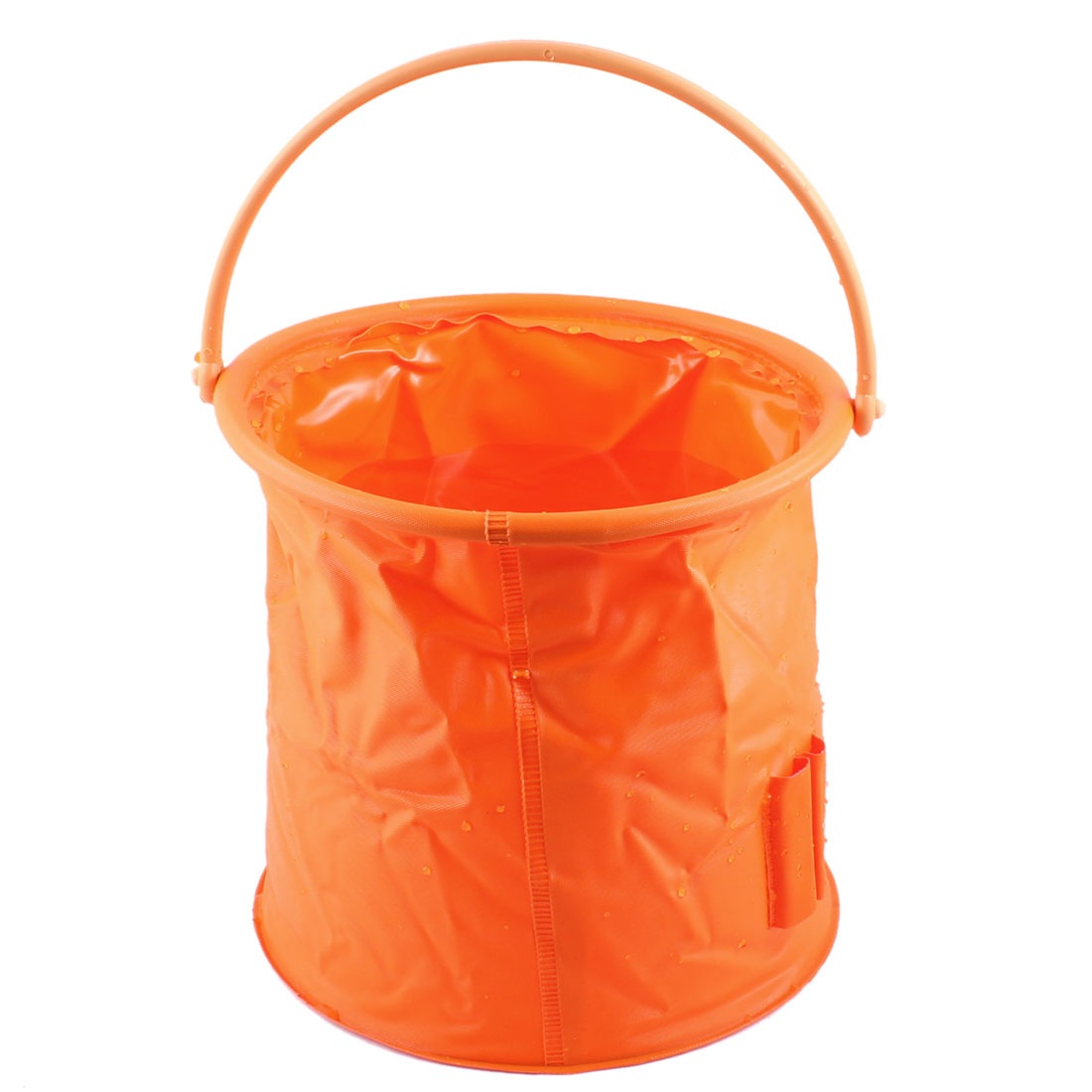 Portable Orange Folding Rounded Fish Pail Portable Water Bucket 3.5Litre