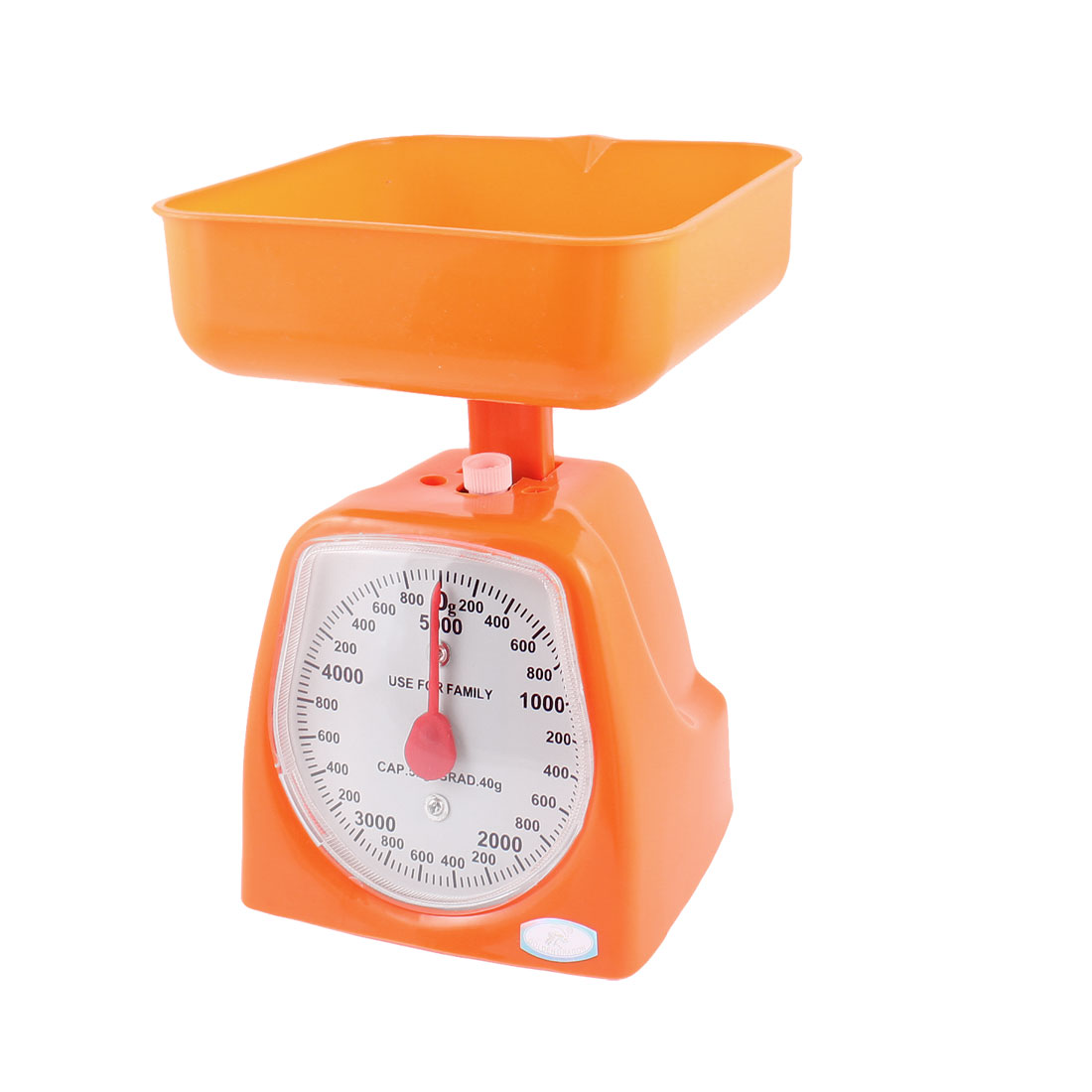 Home Orange Plastic Housing Mechanical Weighing Scale 0-5KG w Squared Tray