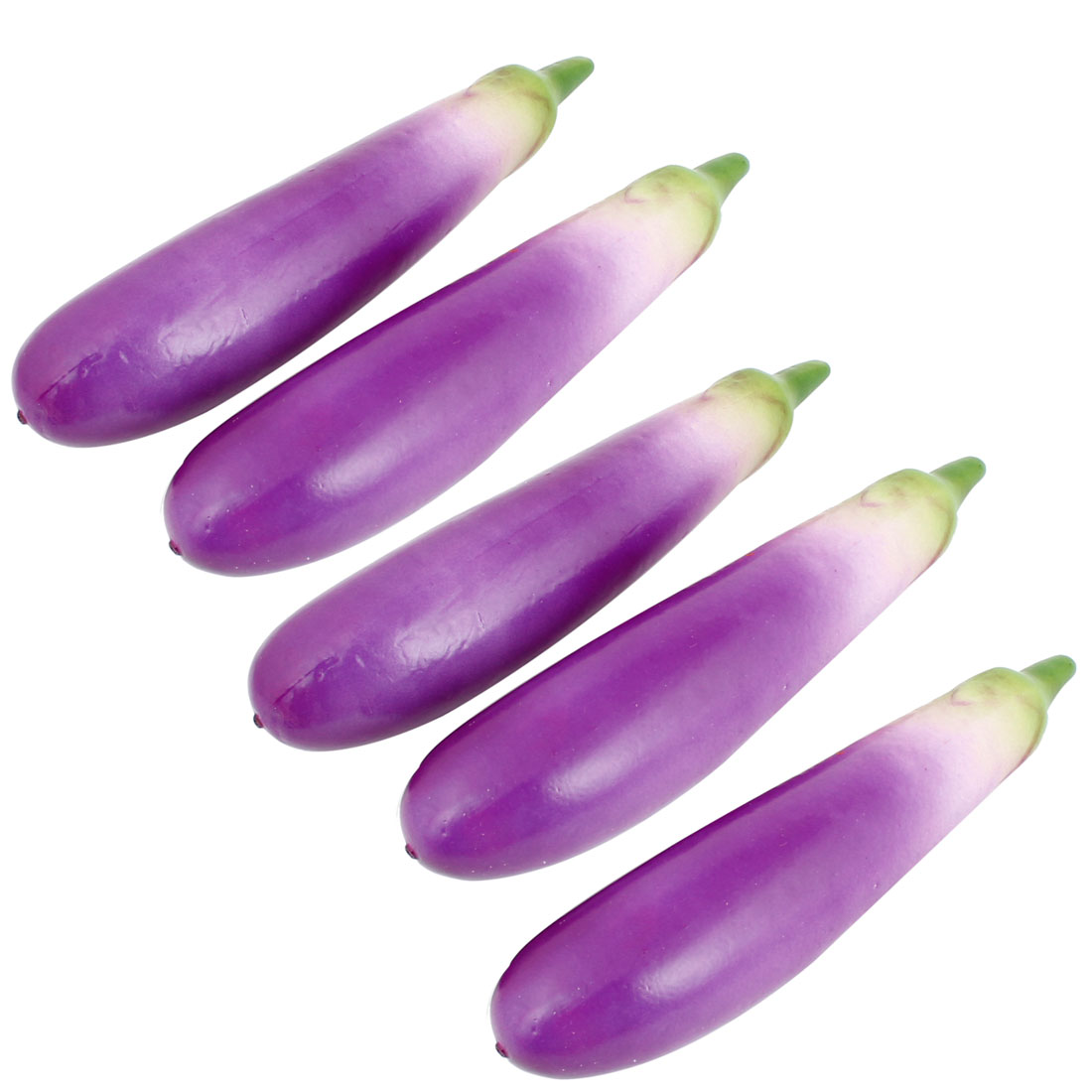 Purple Green Foam Eggplant Aubergine Shape Artificial Desk Table Ornament 5 Pcs