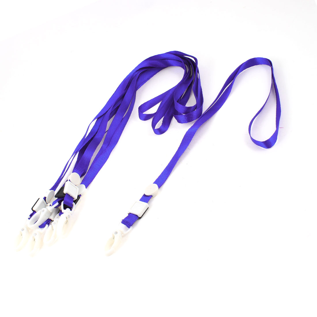 6 Pcs Plastic Lobster Clasp ID Card Badge Lanyard Neck Strap Royal Blue