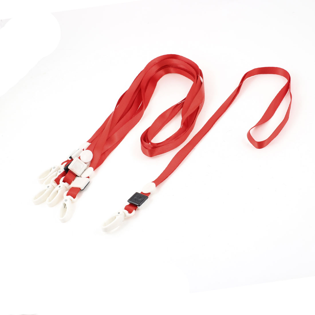 6 Pcs Office School Polyester Neck Lanyard ID Card Holder Red w Lobster Clip