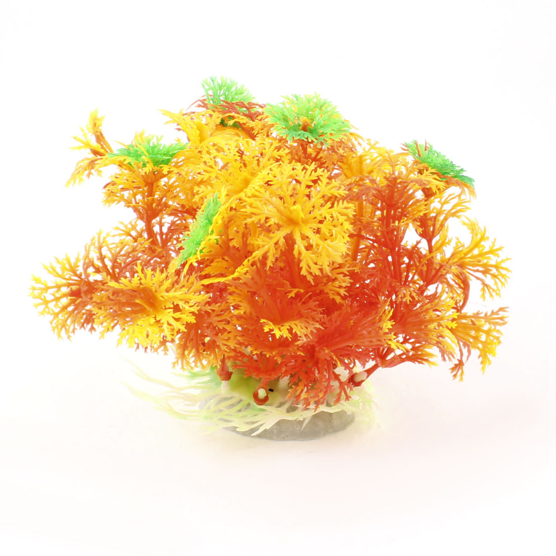 Aquascaping Ornament Yellow Orange Manmade Fish Tnak Water Grass Plants 2.3""