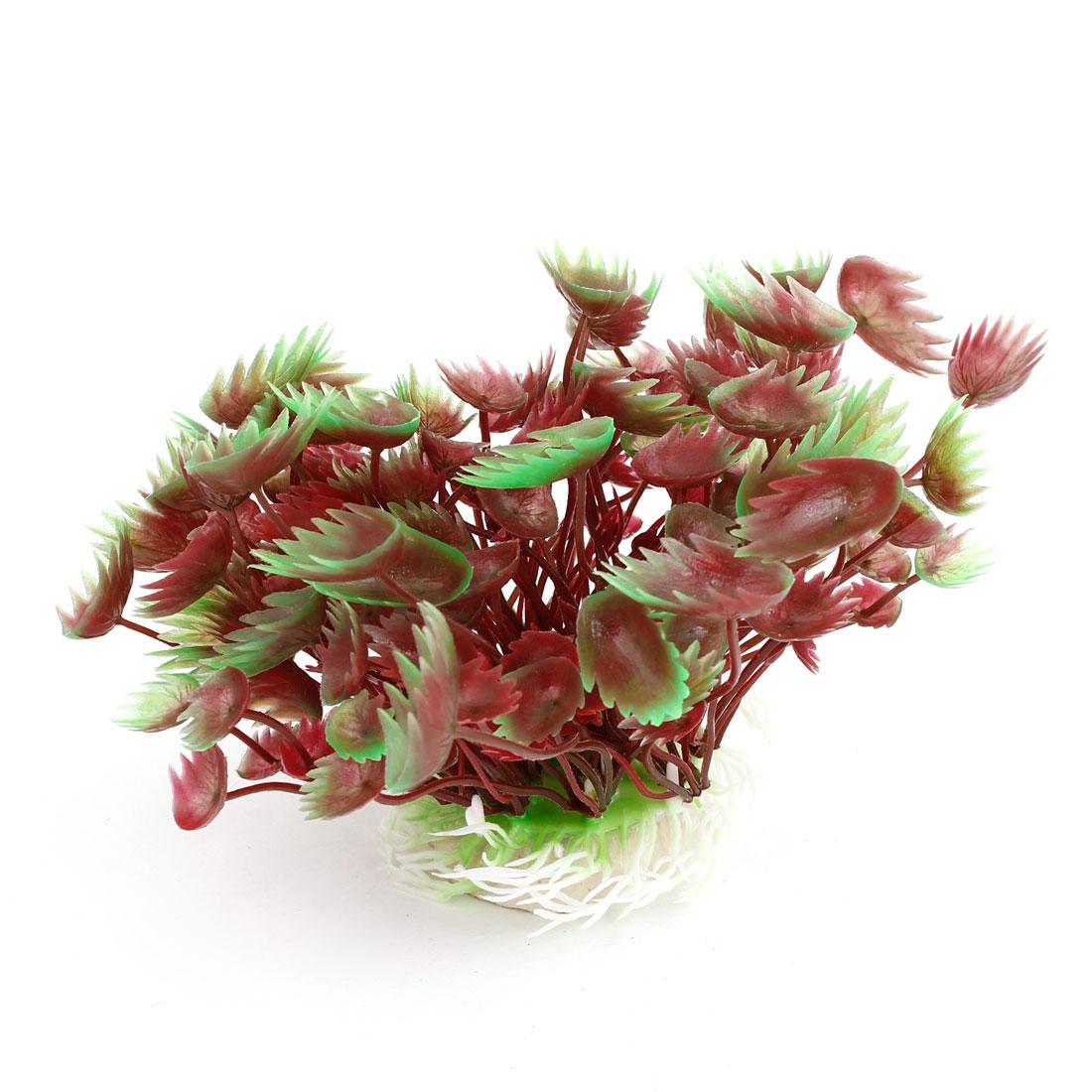 "Ceramic Base Manmade Plastic Green Dark Red Vivid Grass 4.1"" High for Fish Tank"