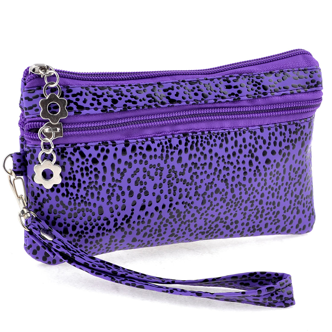 Dots Pattern Nylon Lining Zipper Purse Handbag Purple Black for Ladies