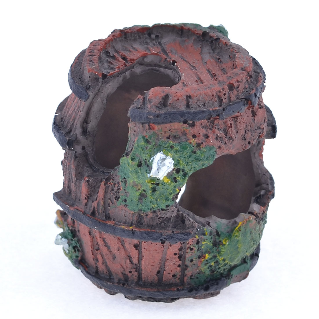 Fish Tank Landscaping Resin Brickred Green Artificial Barrel Ornament