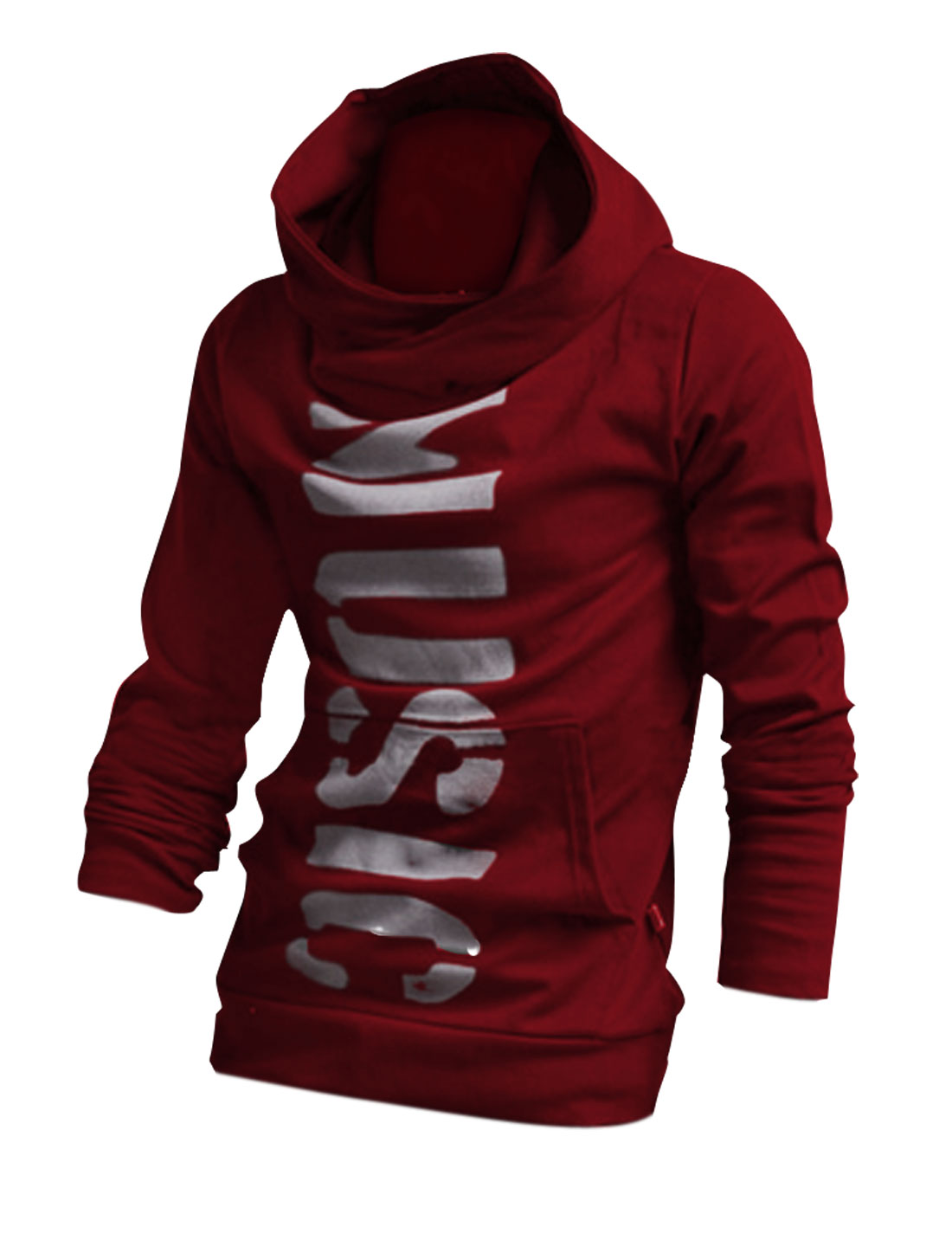 Men Hooded Long Sleeve Pocket Front Hoodies Burgundy M
