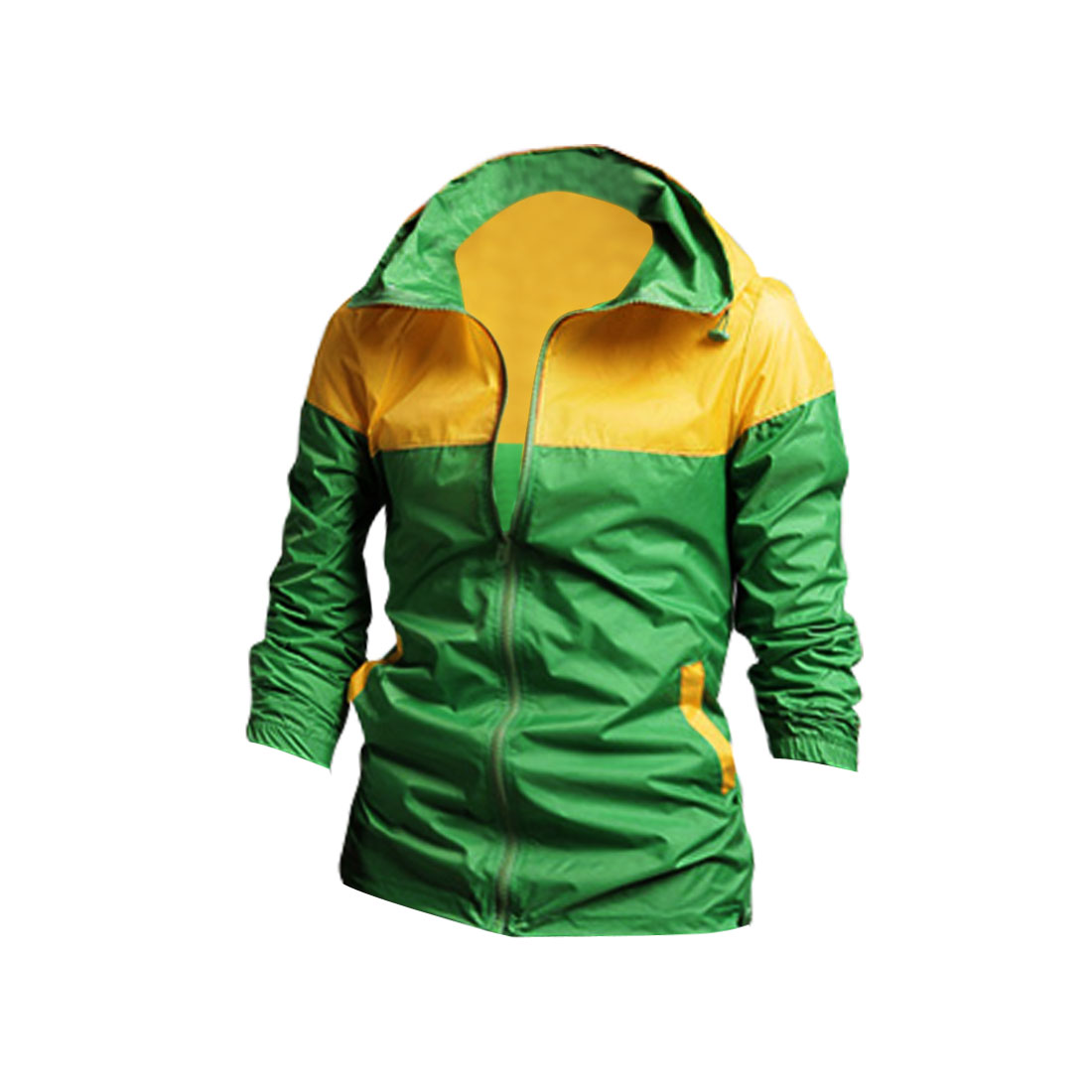 Mans Contrast Color Green Yellow Zip-Up Front Closure Casual Jacket Coat M