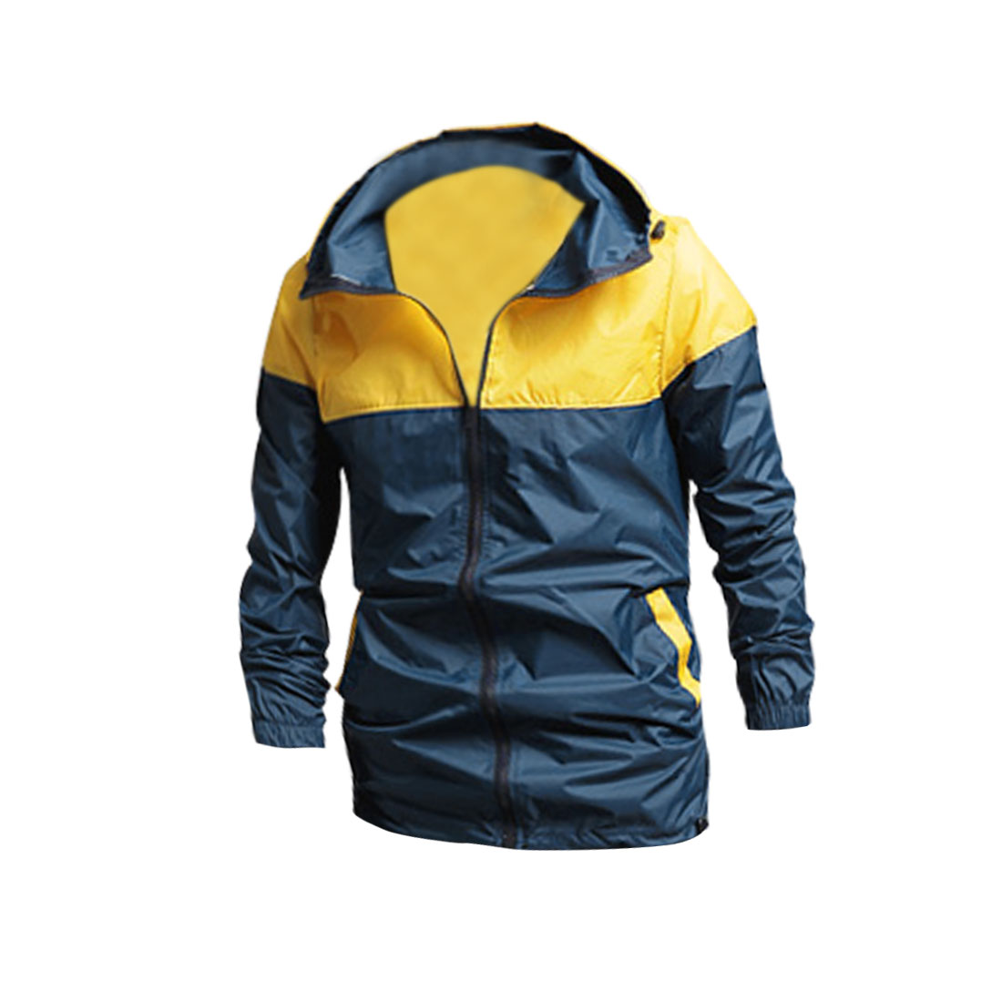 Mens Dark Blue Yellow Color Blocking Hooded Casual Jacket Coat M