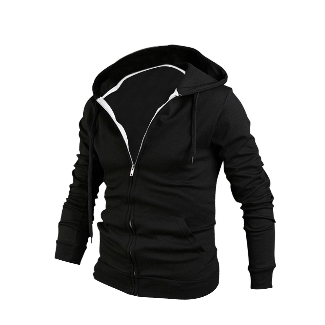 Men Zip Closure Slant Pockets Front Hoodies Black M