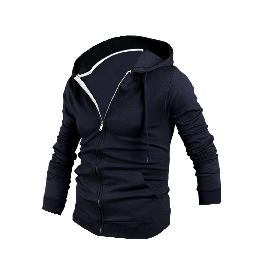 Men Long Sleeve Autumn Wearing Stretchy Hoodies Navy Blue M