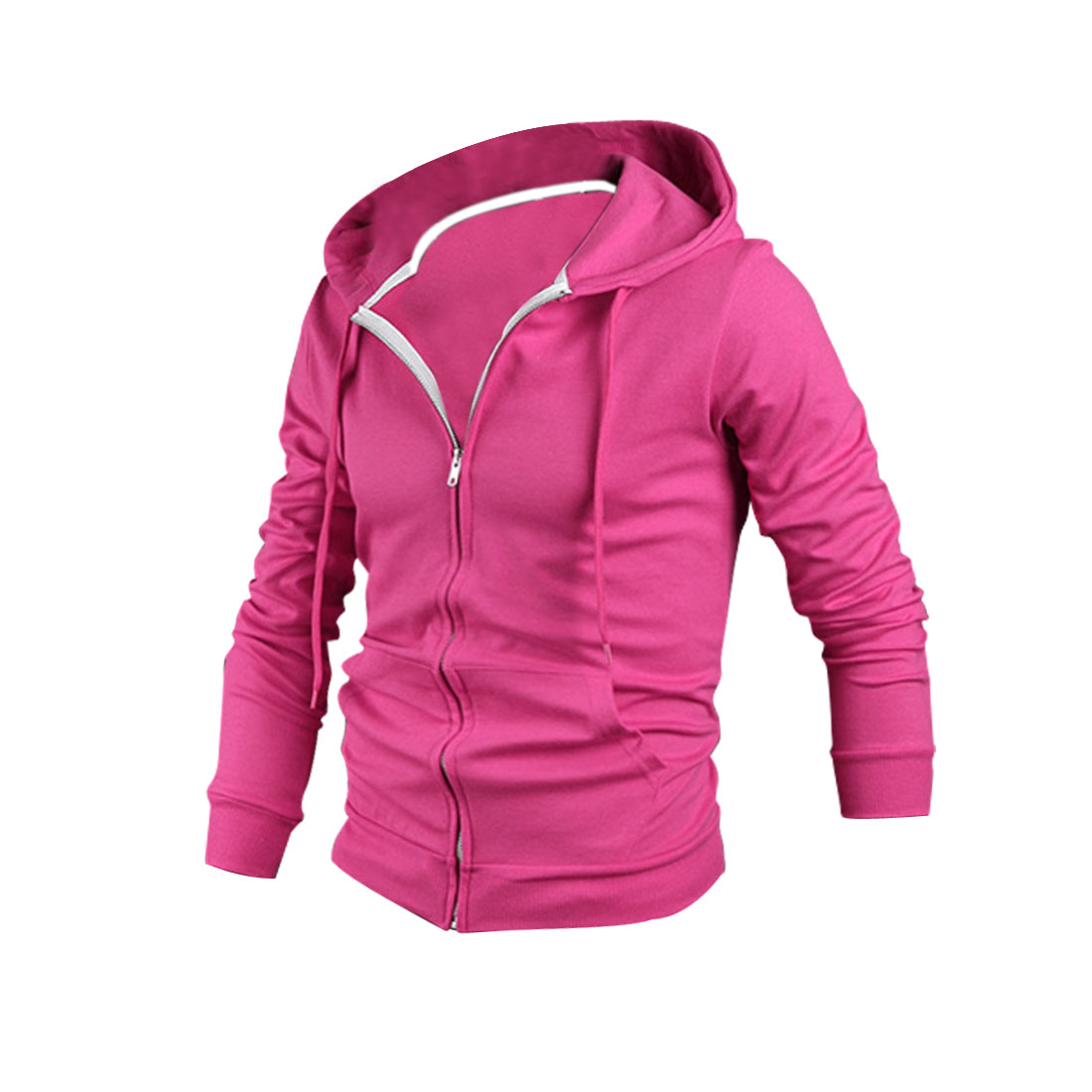 Men Zip Up Pockets Front Stretchy Hoodies Fuchsia M