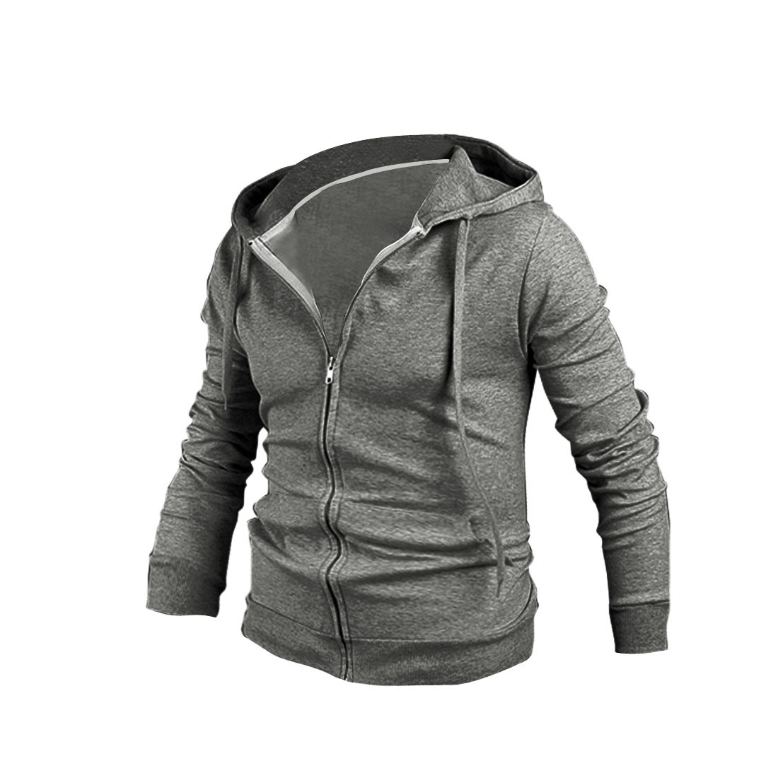 Stylish Men Zip Closure Long Sleeve Hoodies Gray M