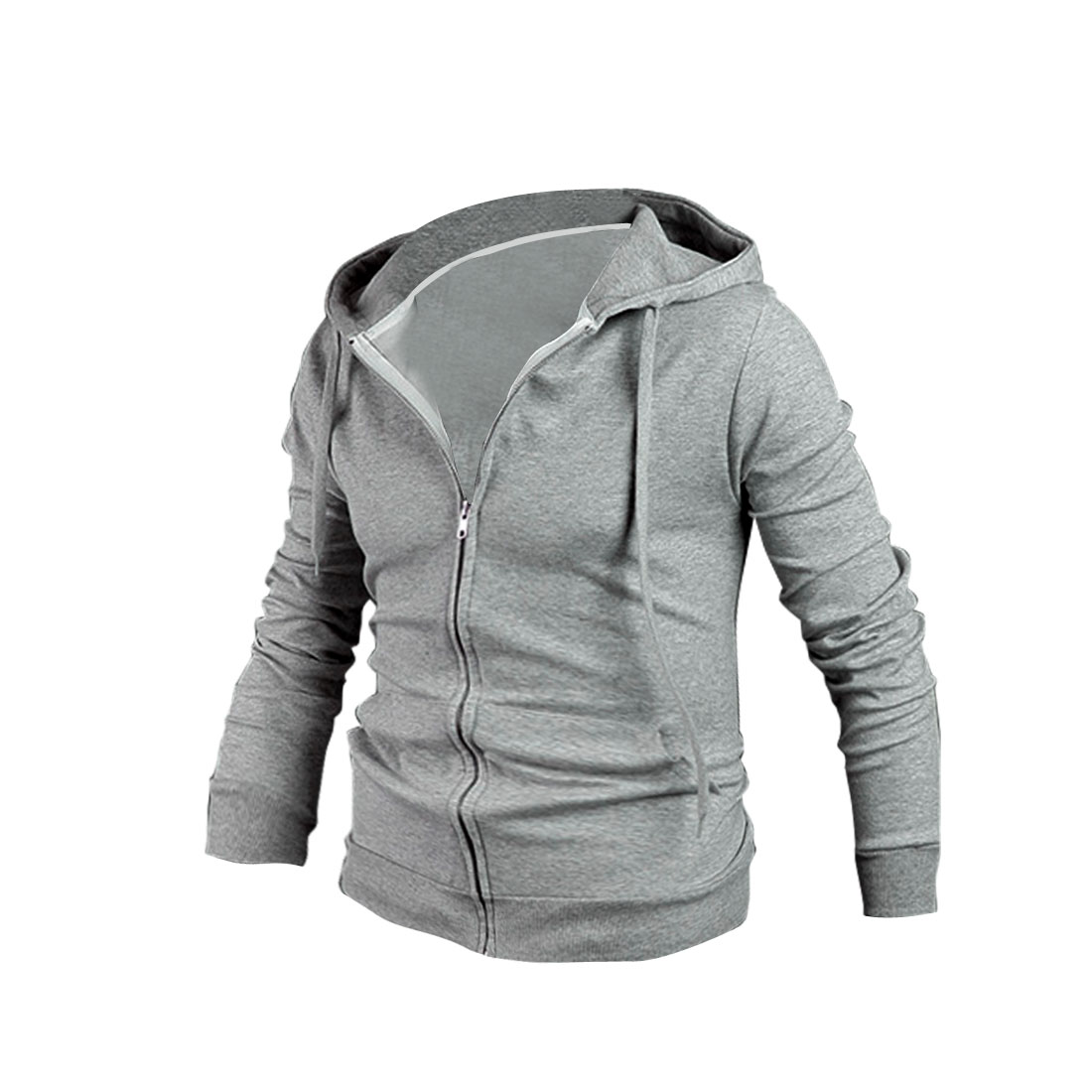 NEWS Men Zip Front Slant Pockets Hoodies Light Gray M