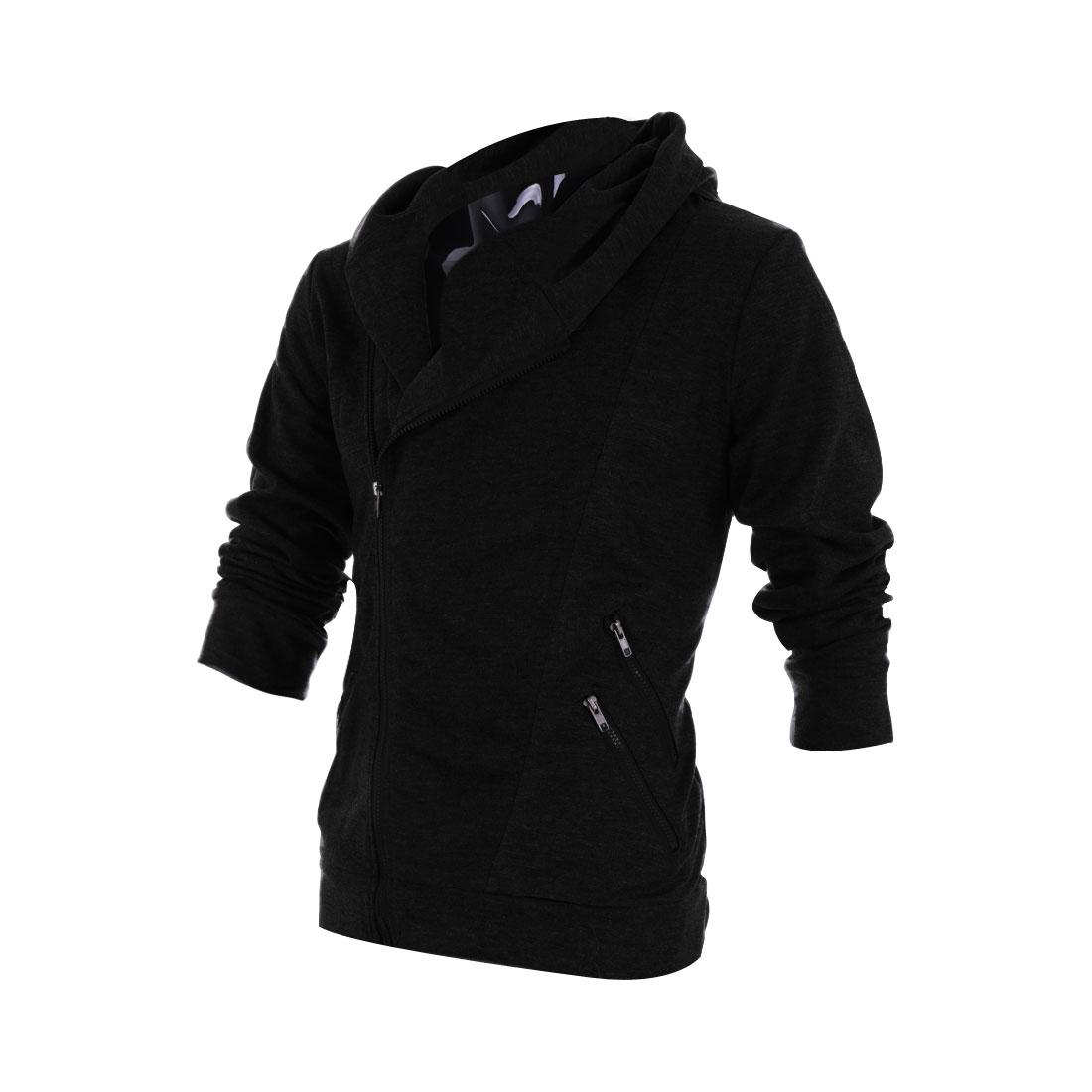 Men Slant Zip Closure Long Sleeve Hoodies Black M