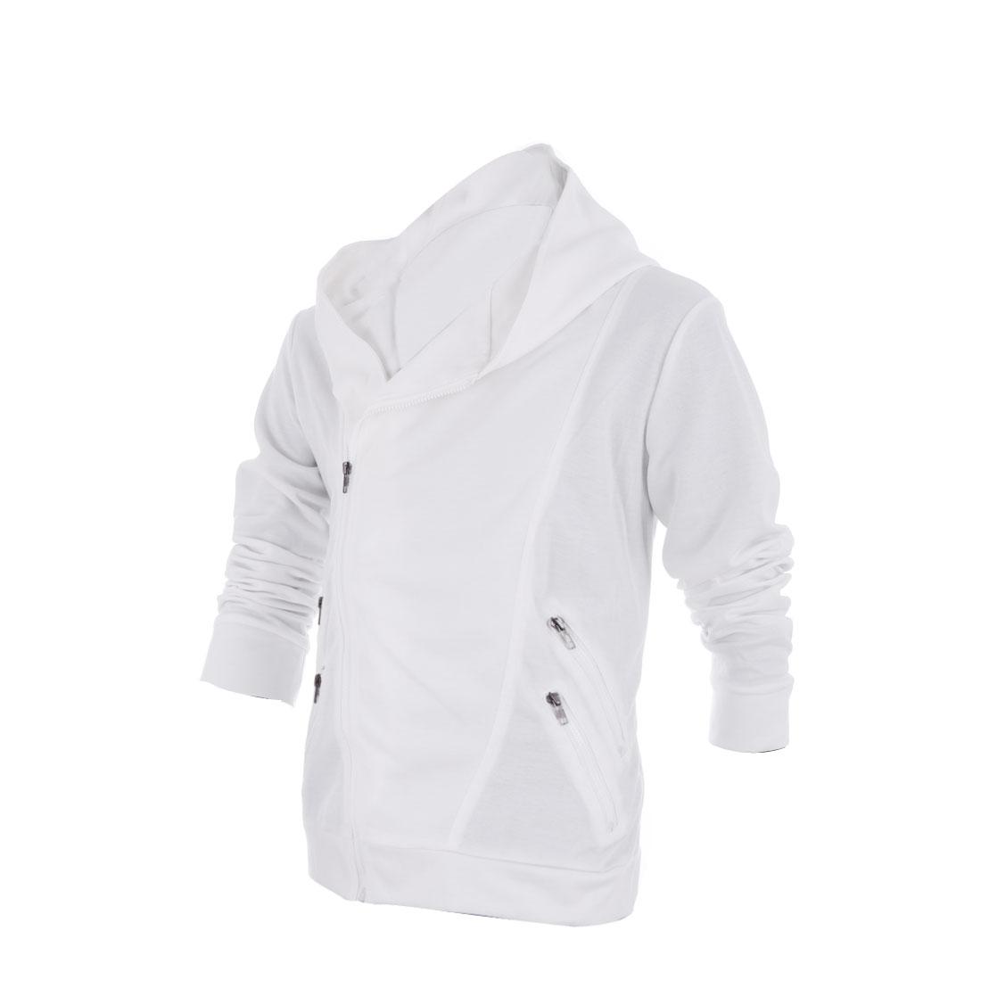Men Long Sleeve Zippers Fake Pockets Hoodies White M