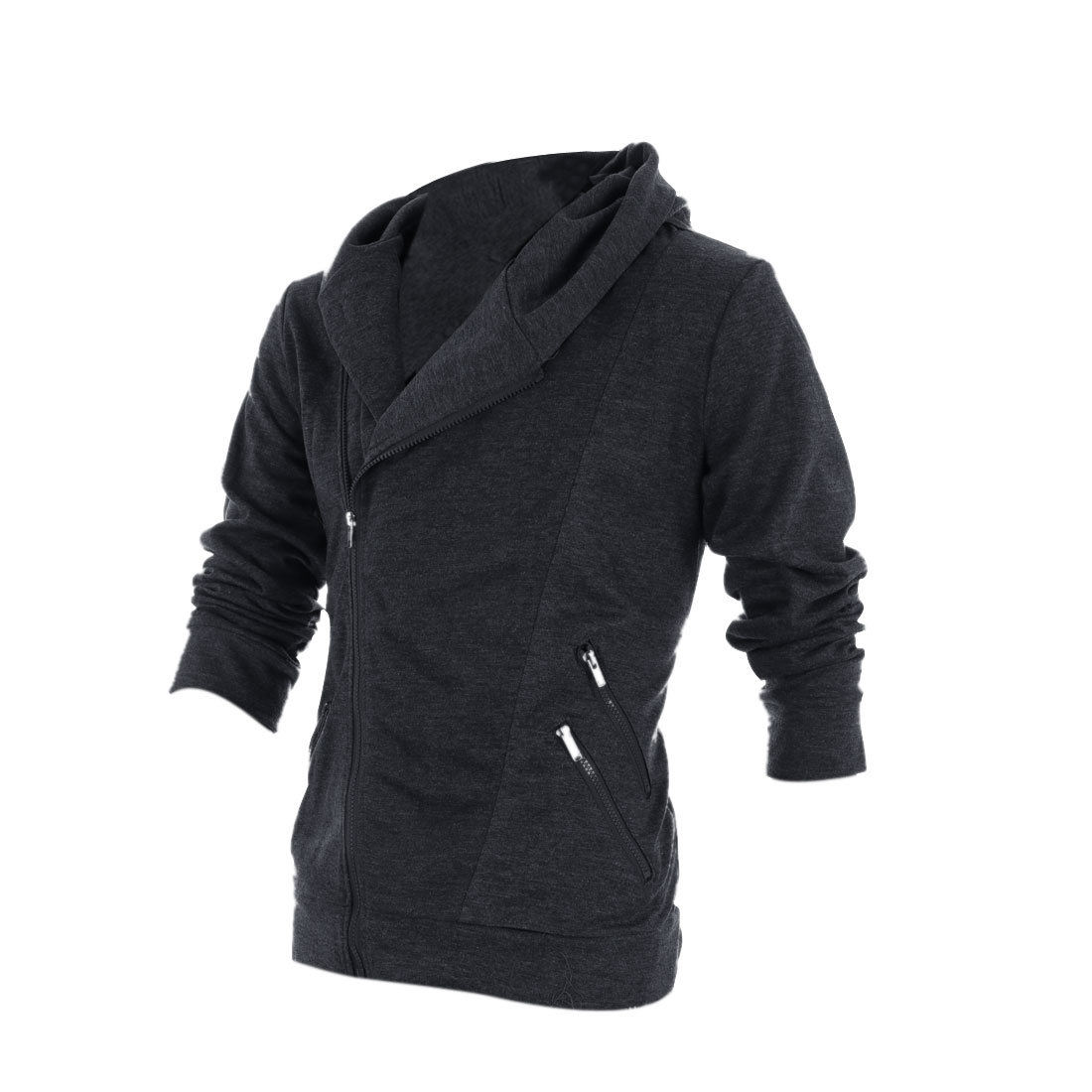 Men Zip Up Long Sleeve Autumn Wearing Hoodies Dark Gray M