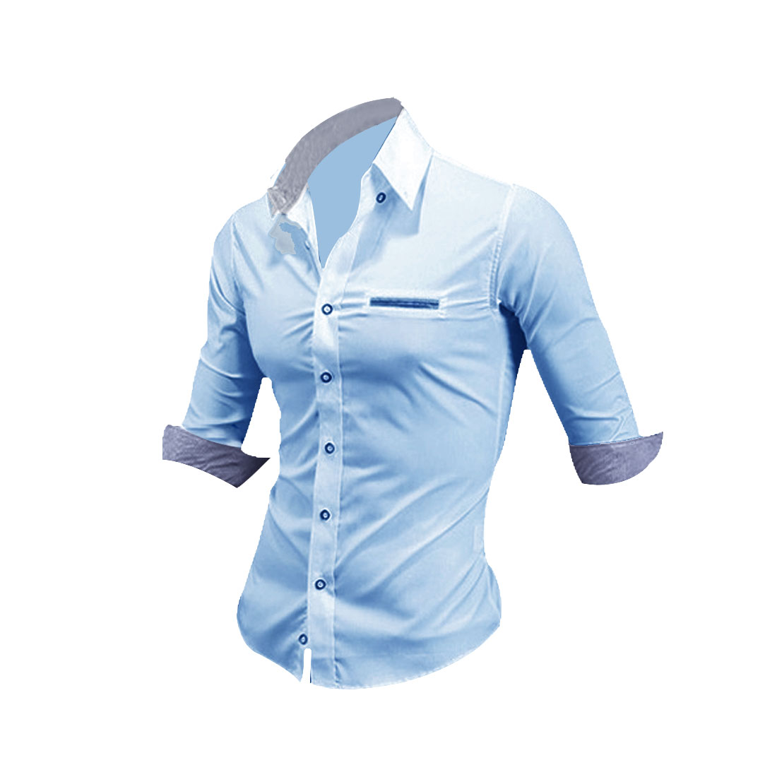 Men Single Breasted Half Sleeve Casual Shirt Light Blue M