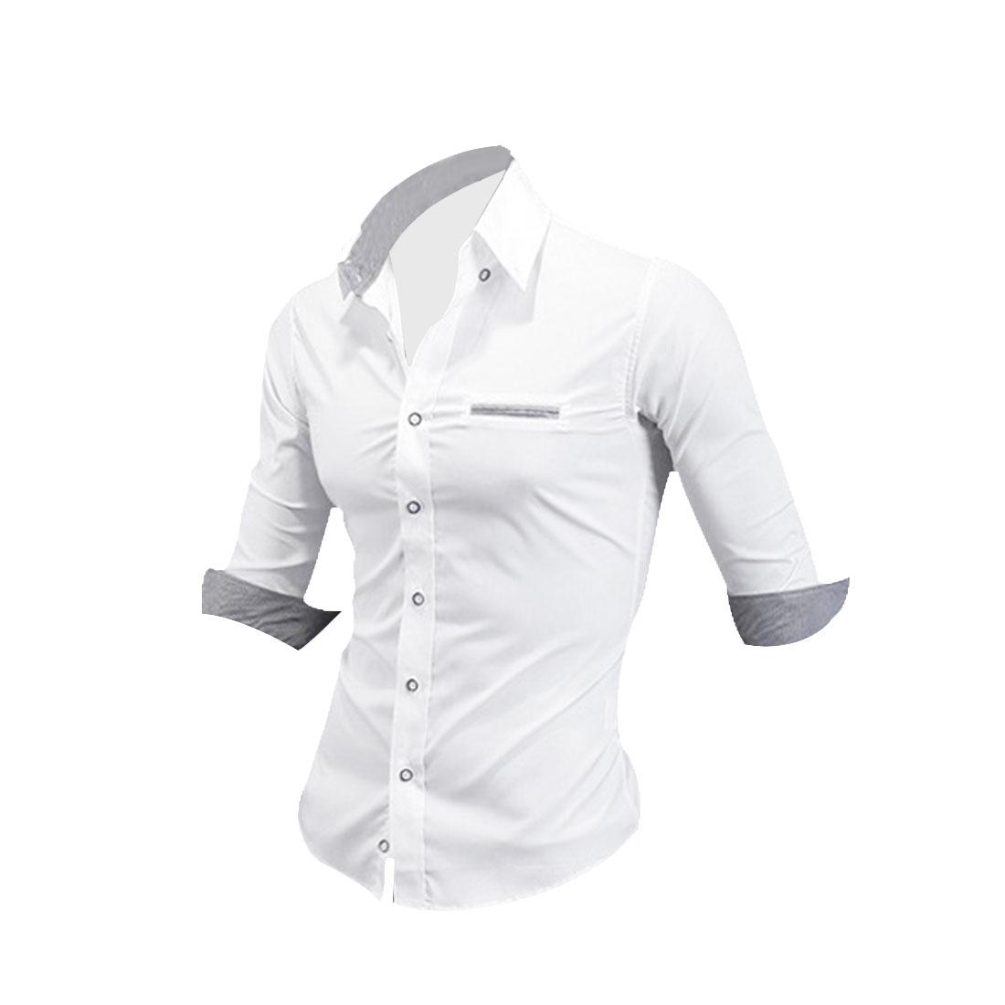 Men Point Collar Half Sleeve Mock Pocket Shirt White M