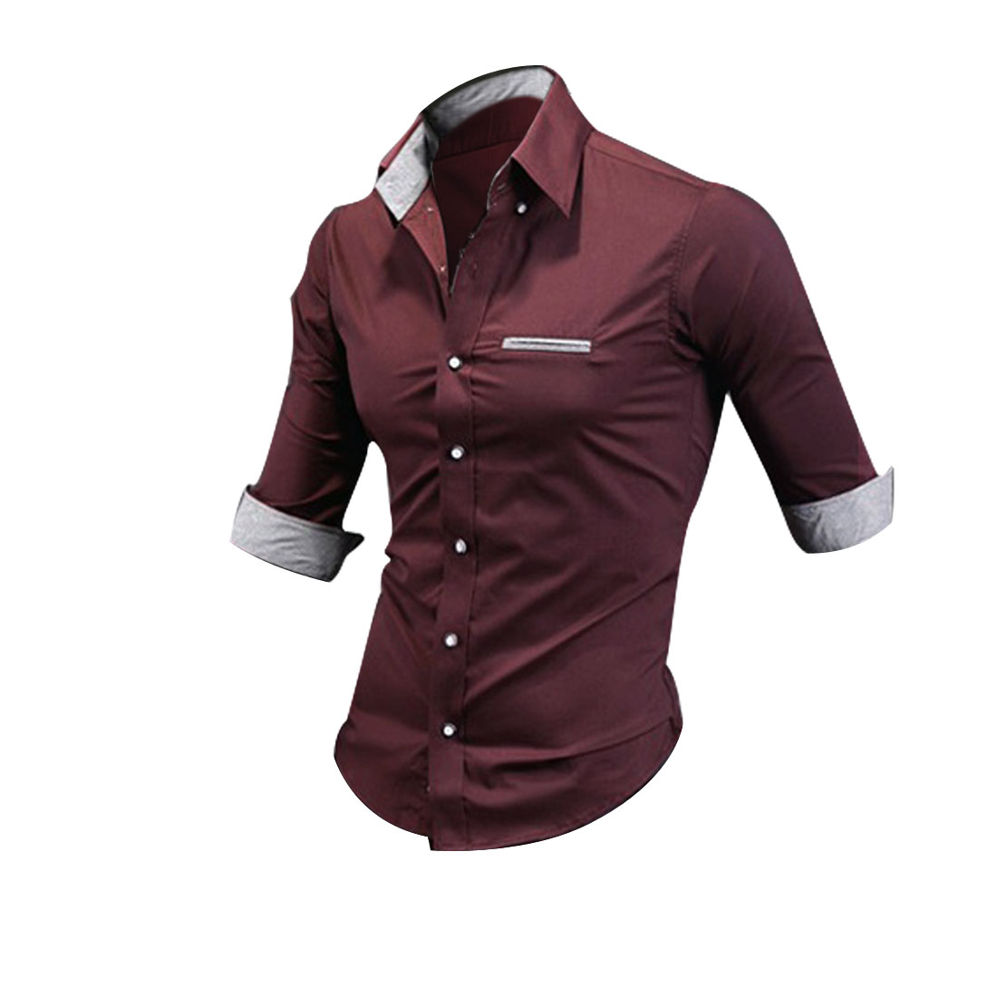 Men Button Closure Point Collar Autumn Shirt Burgundy M
