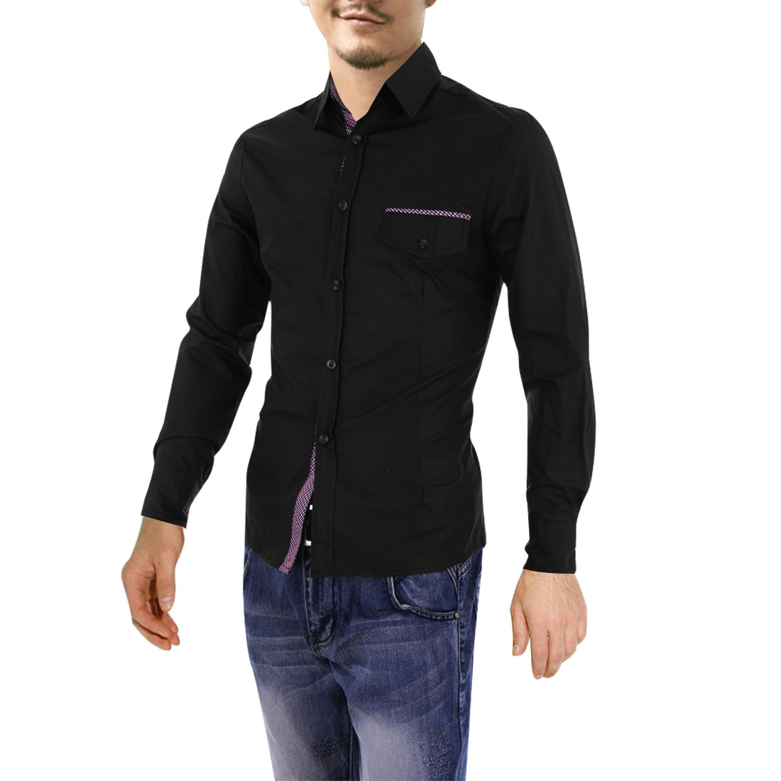 Mens Point Collar Long Sleeve Single-Breasted Front Black Casual Shirt M
