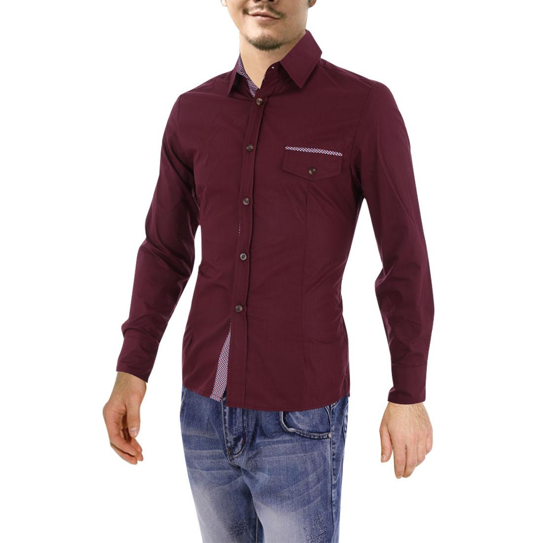 Mens Point Collar Long Sleeve Plaids Detail Burgundy Casual Shirt M