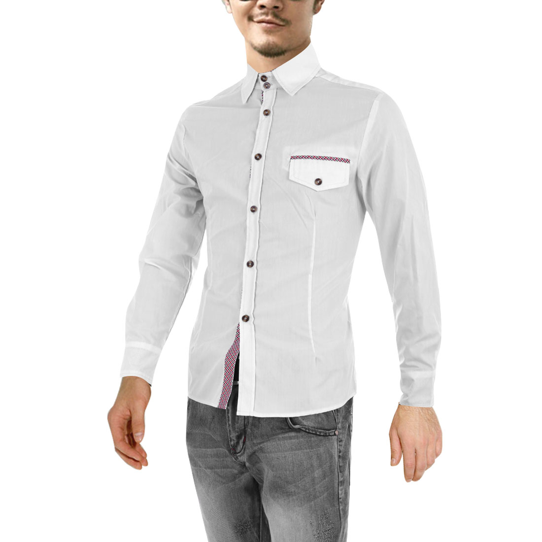 Man Newly Point Collar Long Sleeve Buttoned Cuff Design White Casual Shirt M